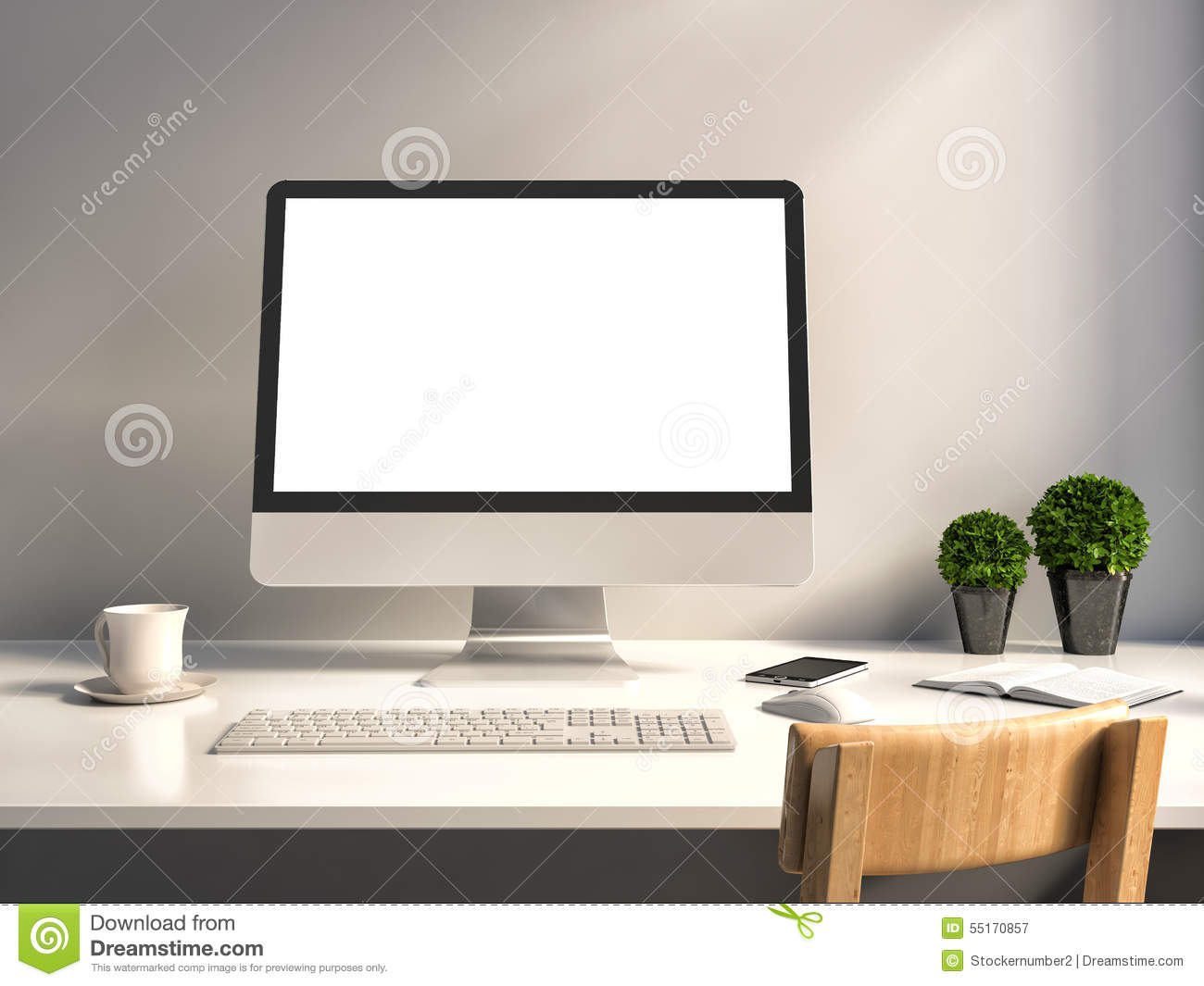Computer With White Screen On Office Table Stock