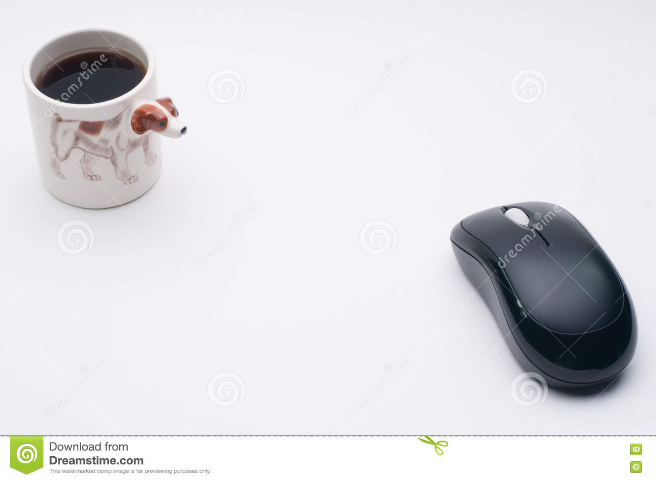Computer wireless mouse, cup of coffee, Jack Russel dog side of coffee cup