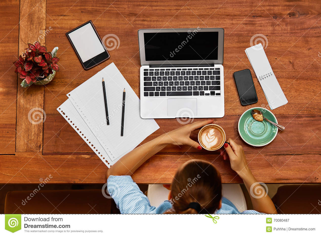 Computer Work. Business Woman Working At Cafe. Freelance ...