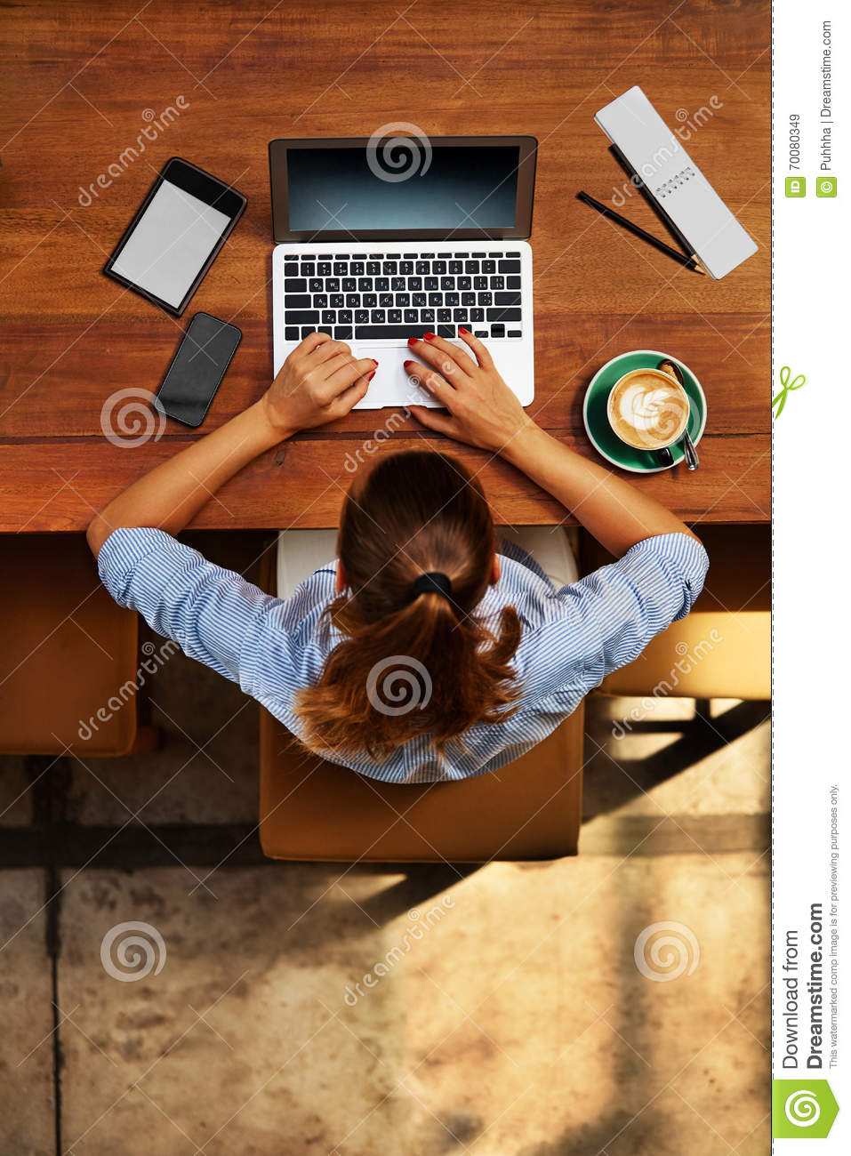 Computer Work. Business Woman Working At Cafe. Freelance, Communication