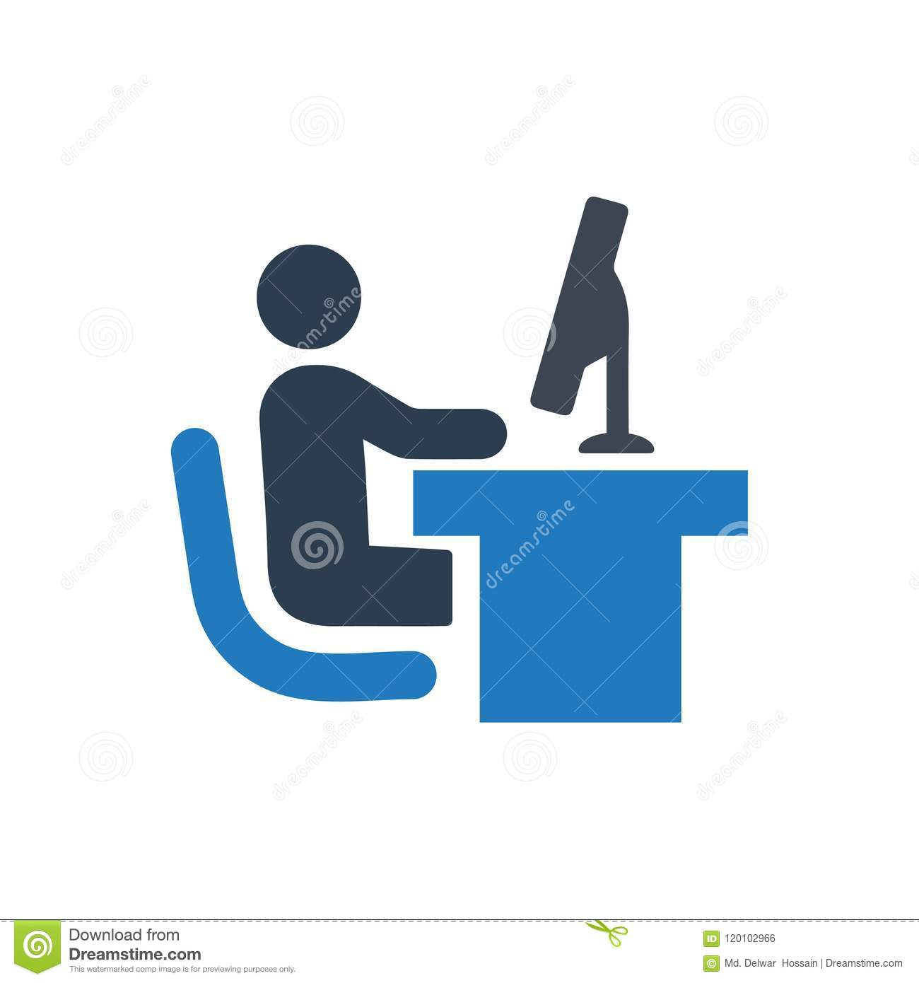 Computer Working Icon