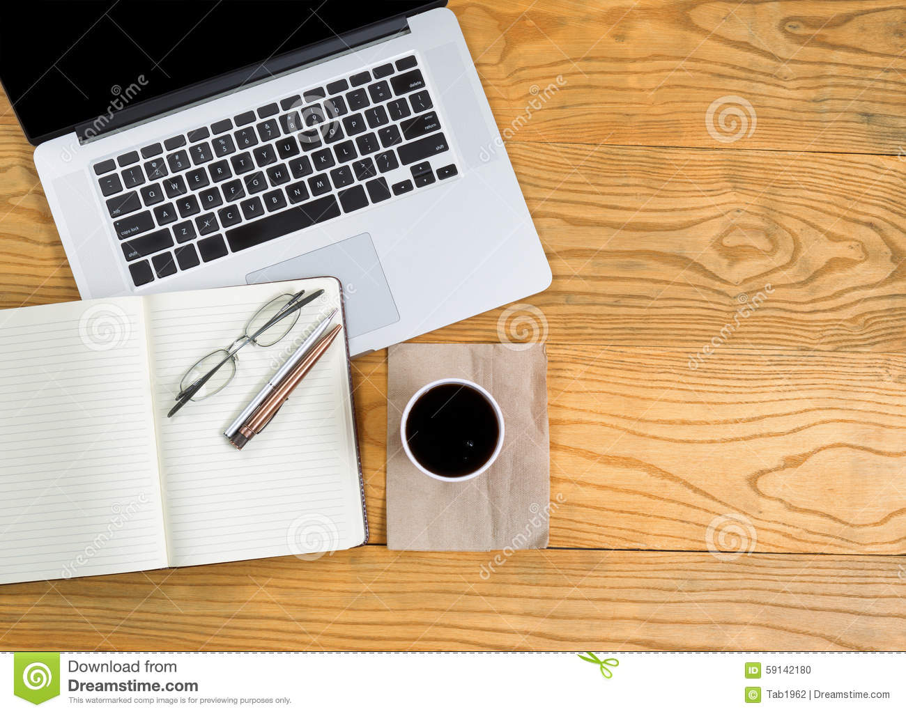 computer with writing tools and dark coffee on top of desktop stock photo image of notepad. Black Bedroom Furniture Sets. Home Design Ideas