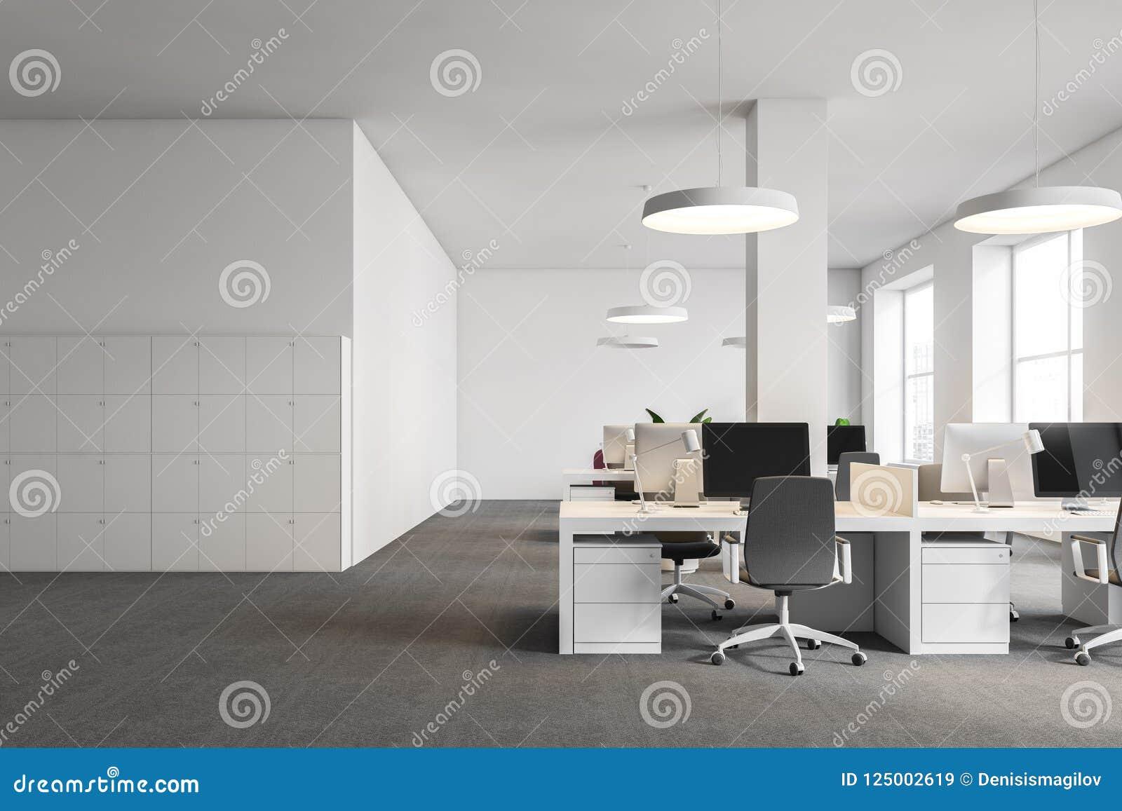Computerlijsten In Wit Bureau Kasten Stock Illustratie