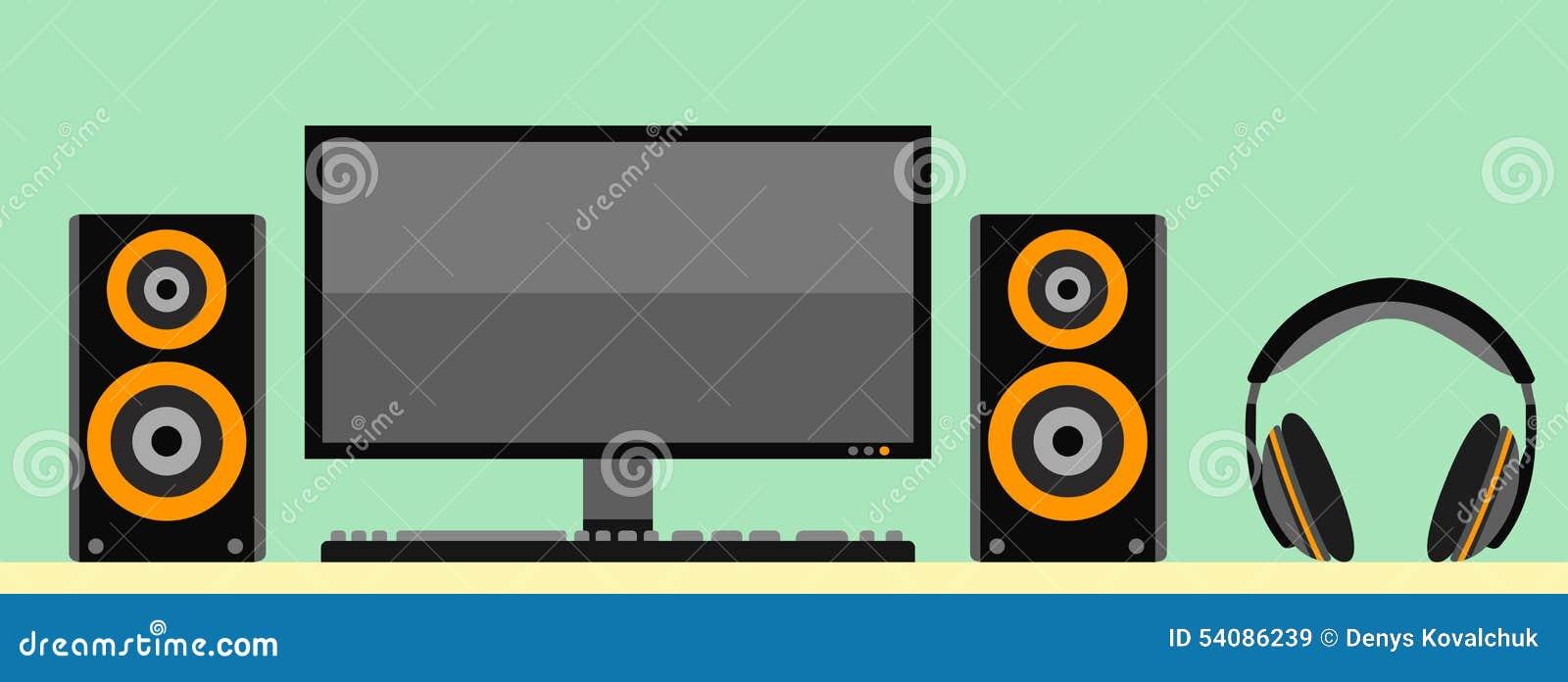 Computermonitor met toetsenbord akoestische luidspreker en hoofdtelefoons