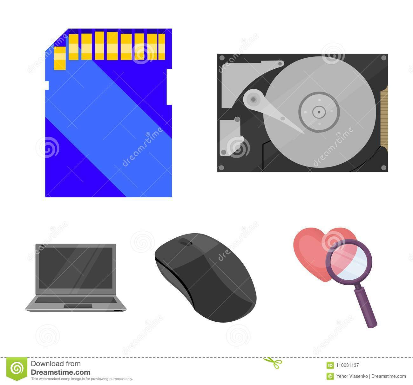 Computermuis, laptop en ander materiaal Pictogrammen van de personal computer de vastgestelde inzameling in vector het symboolvoo