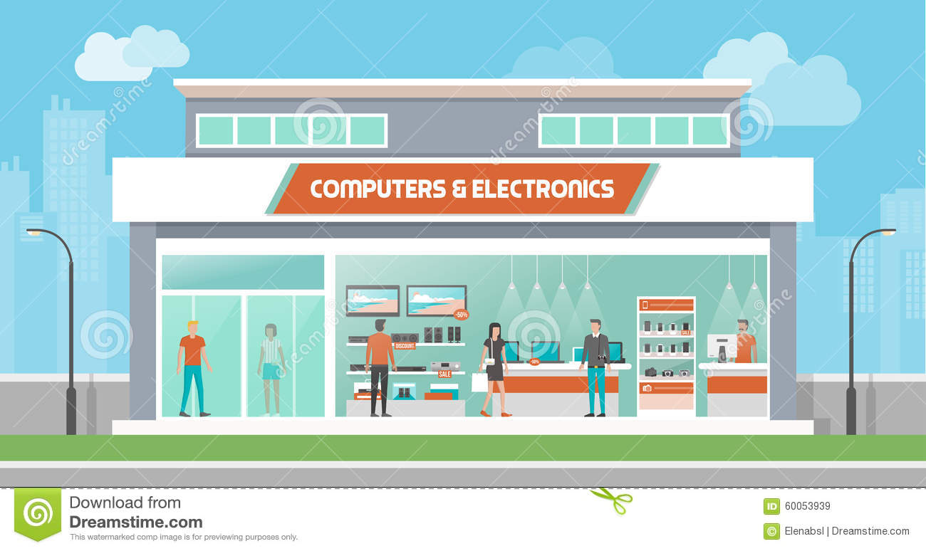 Computers And Electronics Store Stock Vector