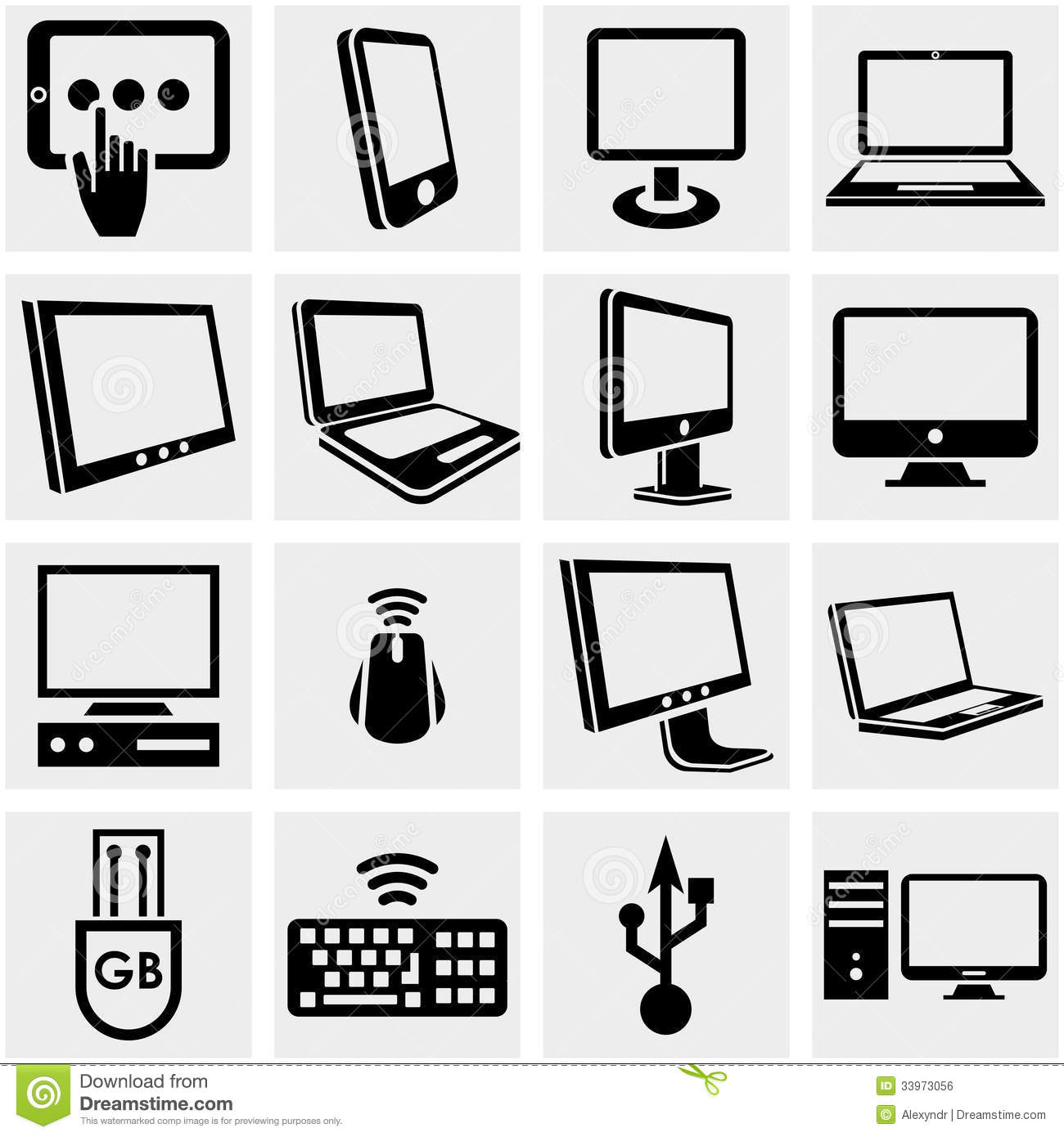 Computers Vector Icons Set On Gray. Royalty Free Stock ...