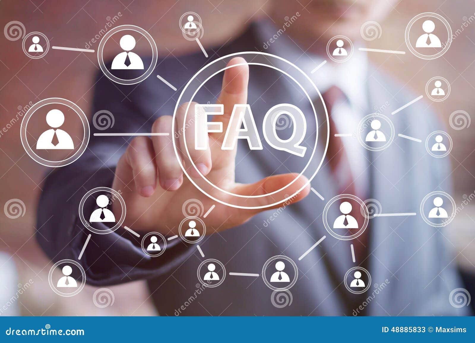 Comunicación del web de la conexión del icono del FAQ del botón del negocio