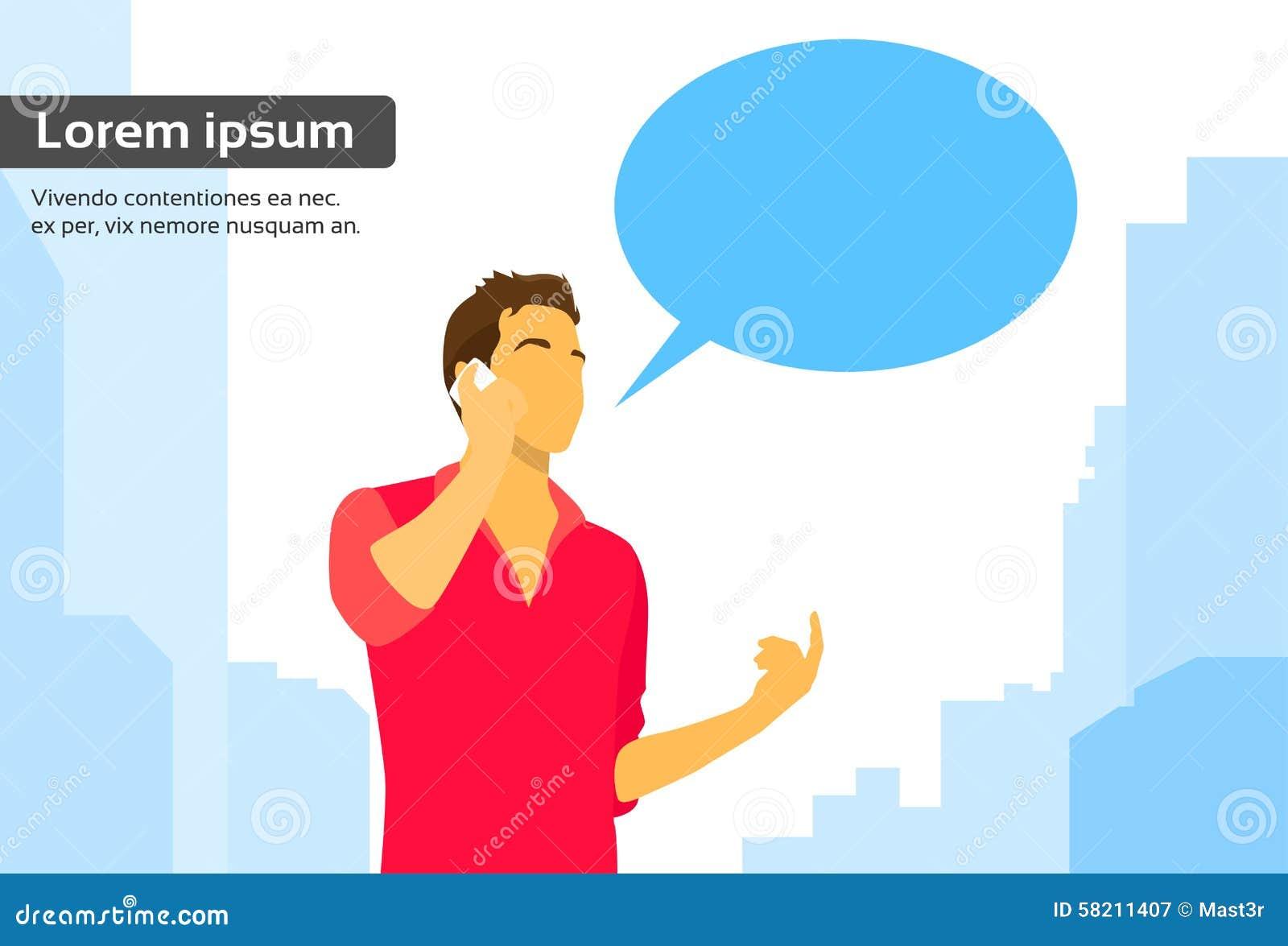 Comunicación elegante de la caja de la charla de la charla del teléfono del hombre casual