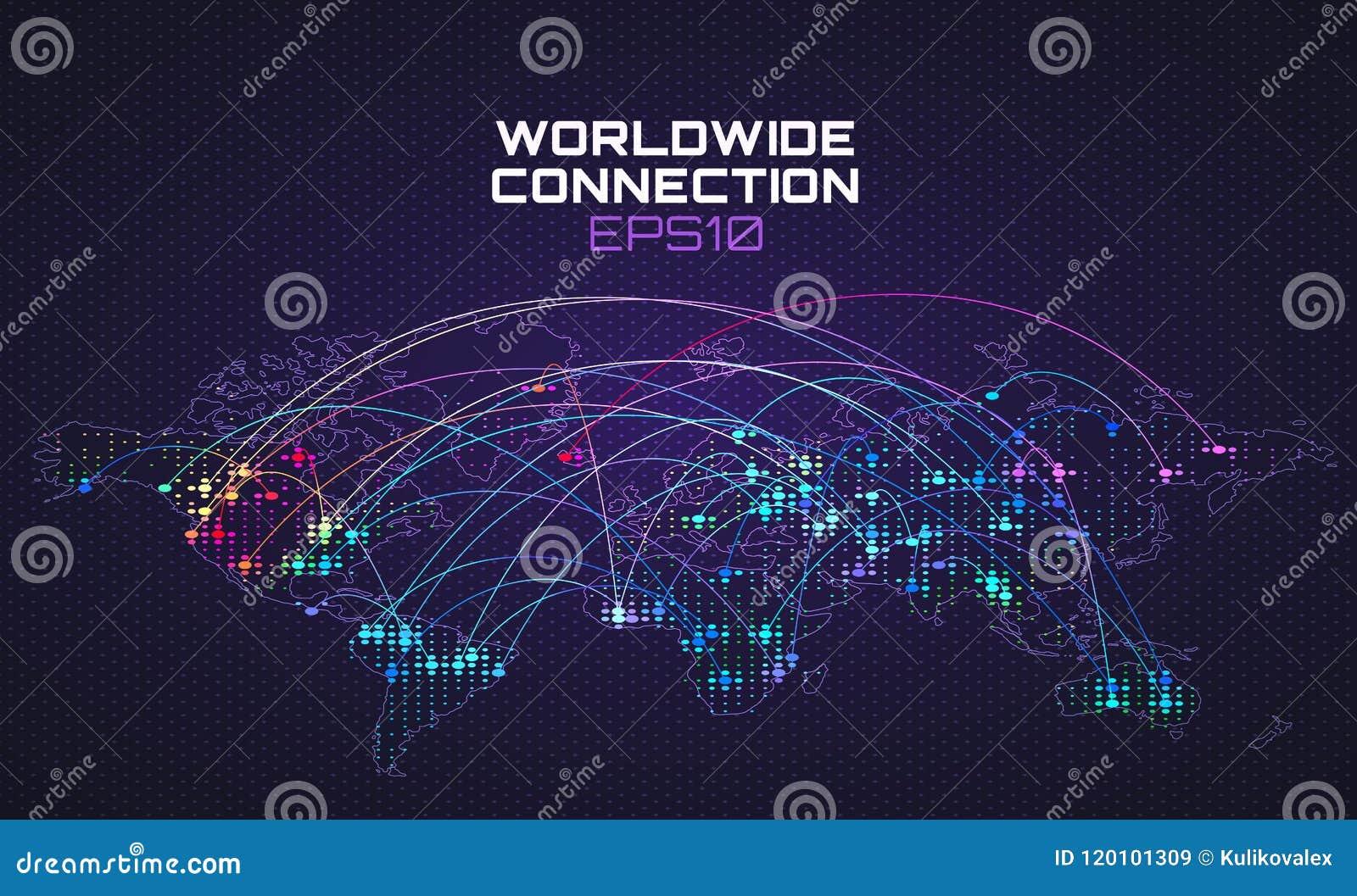 Comunicazione mondiale del sociale di Internet Traiettoria del flusso di dati, nuvola che computa fondo astratto Rete globale