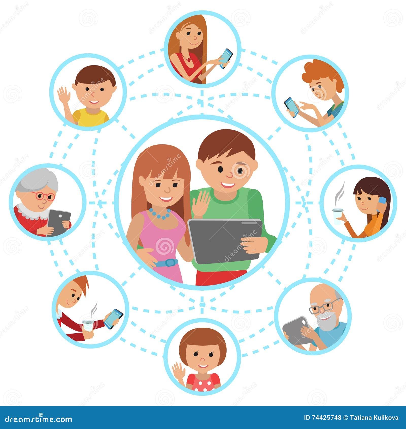 Comunicazioni sociali di media Equipaggi le coppie della donna che chiamano con la compressa ai loro nonni ed amici dei genitori