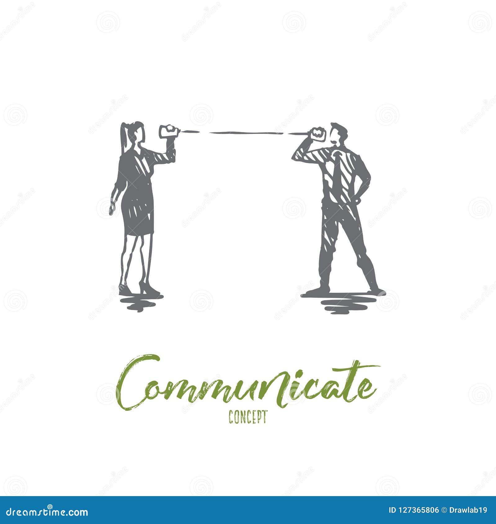 Comunique-se, fale-se, povos, discurso, conceito da conversação Vetor isolado tirado mão