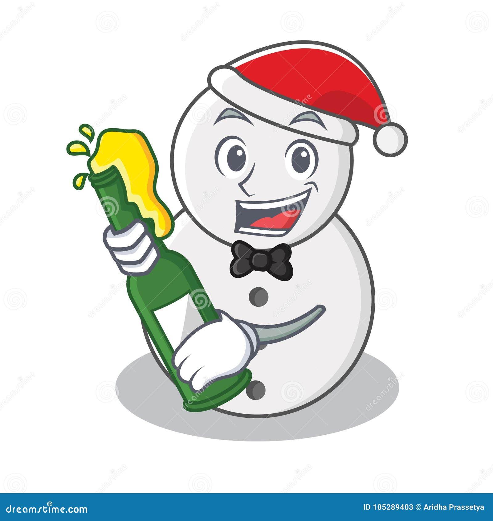 Con estilo de la historieta del carácter del muñeco de nieve de la cerveza