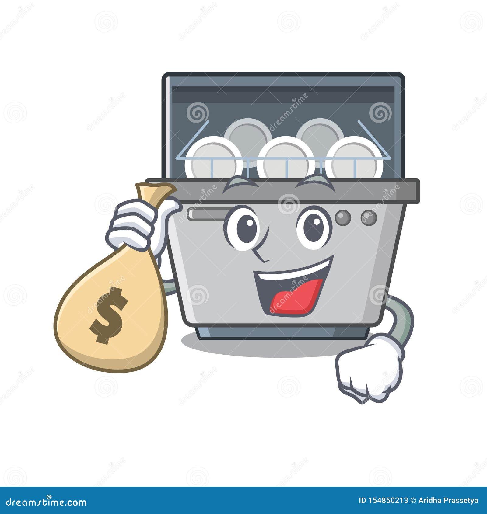 Con la macchina della lavastoviglie della mascotte della borsa dei soldi nella cucina