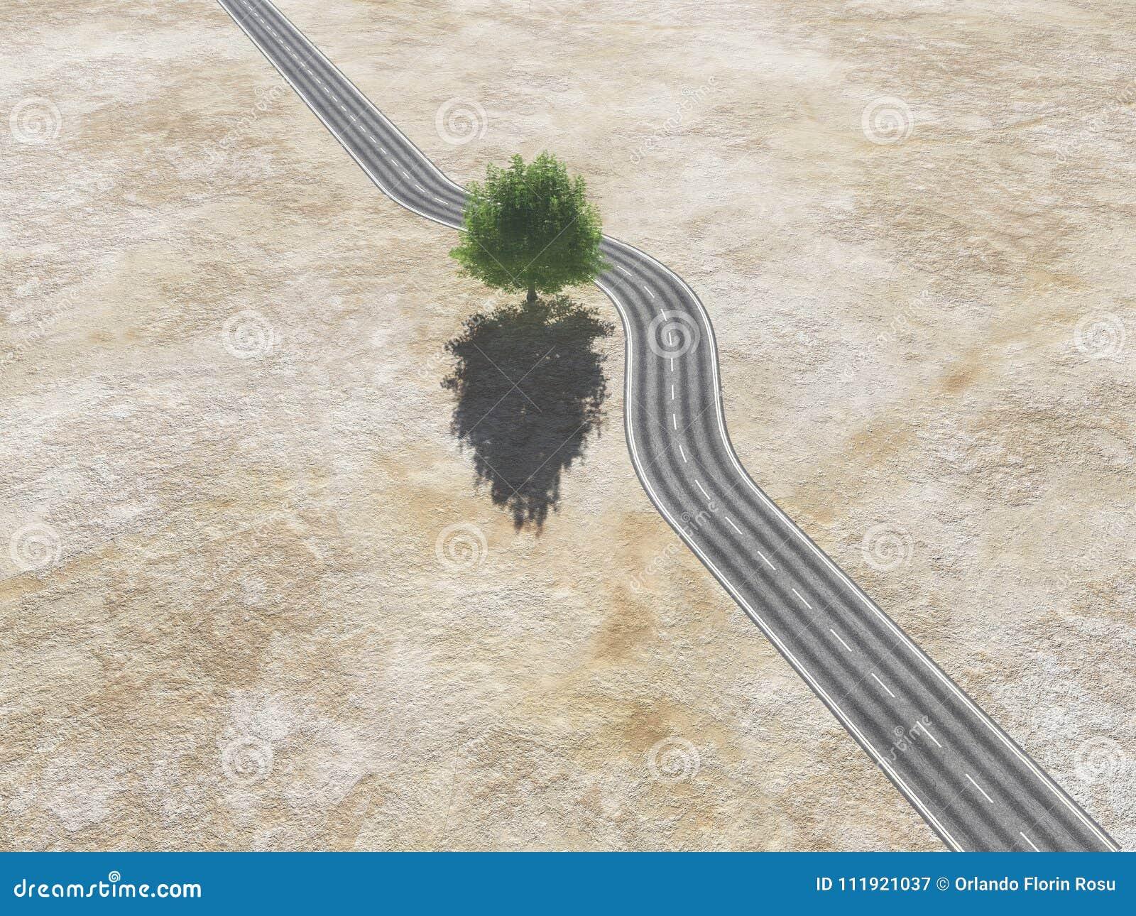 Con Un árbol En El Medio Del Camino Imagen De Archivo Imagen De Concepto Fondo 111921037