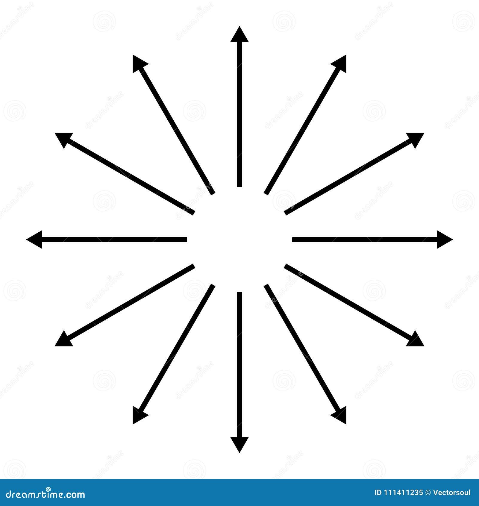 Concéntrico, radial, irradiando flechas Elemento circular de la flecha