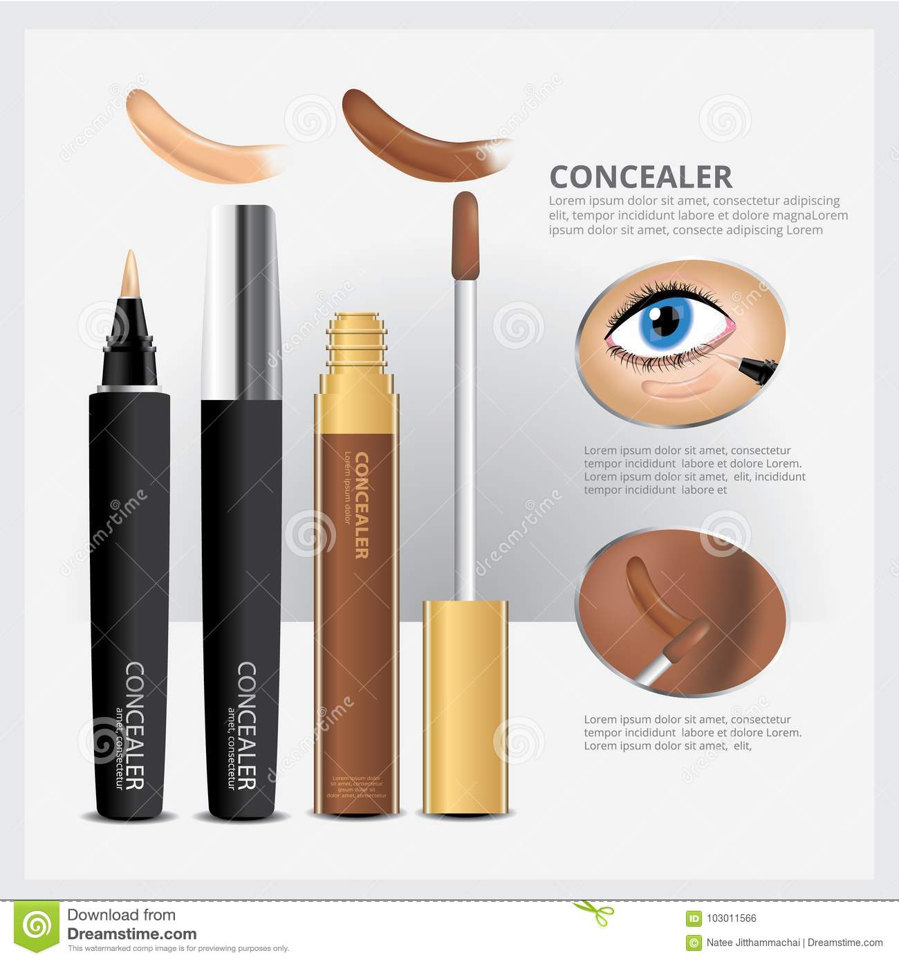 Concealer Cosmetic Package with Face Makeup