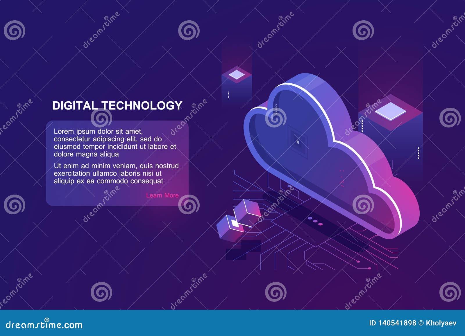 Conceito abstrato da computação digital da nuvem, do armazém de armazenamento de dados da nuvem, de sala do servidor, de banco de