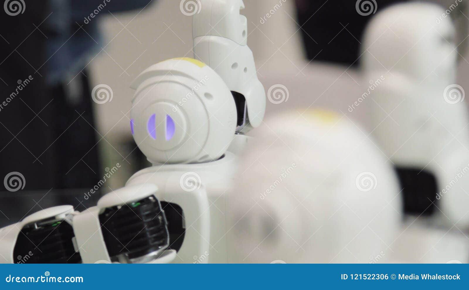 Conceito alta-tecnologia do futuro e da ciência Dança esperta dos robôs do Humanoid Robôs da dança Conceito futuro da tecnologia