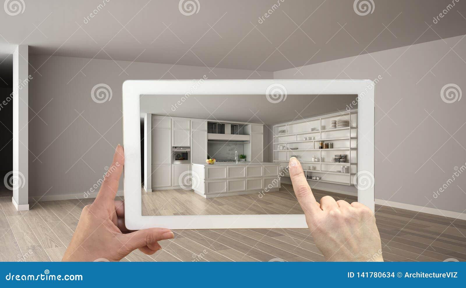Conceito aumentado da realidade A tabuleta da terra arrendada da mão com aplicação da AR usou-se para simular produtos da mobília