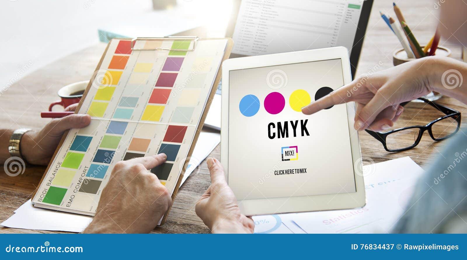 Conceito chave amarelo magenta ciano do processo de impressão a cores de CMYK