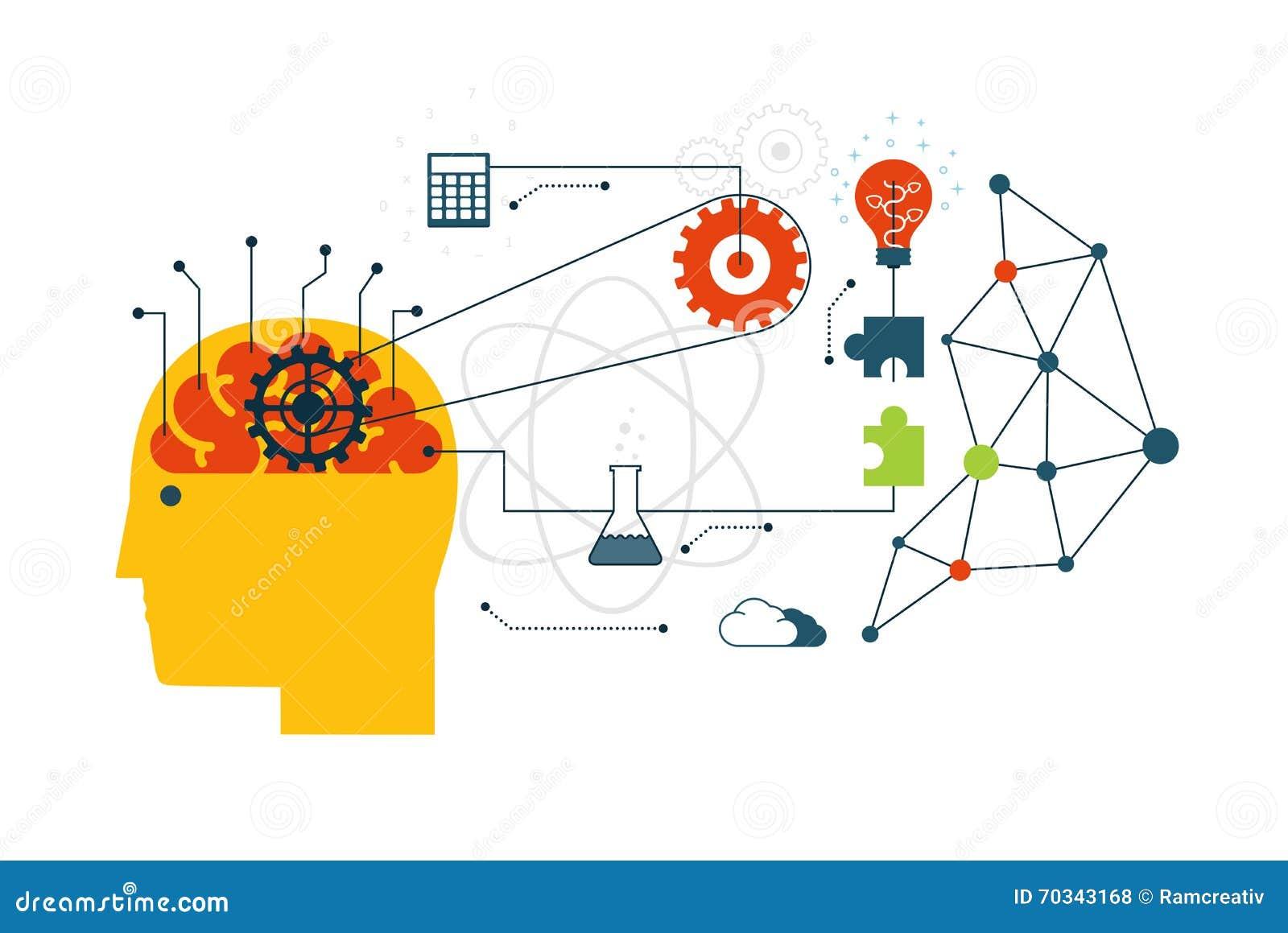 Conceito científico do Internet da tecnologia, da engenharia e da matemática com ícones lisos