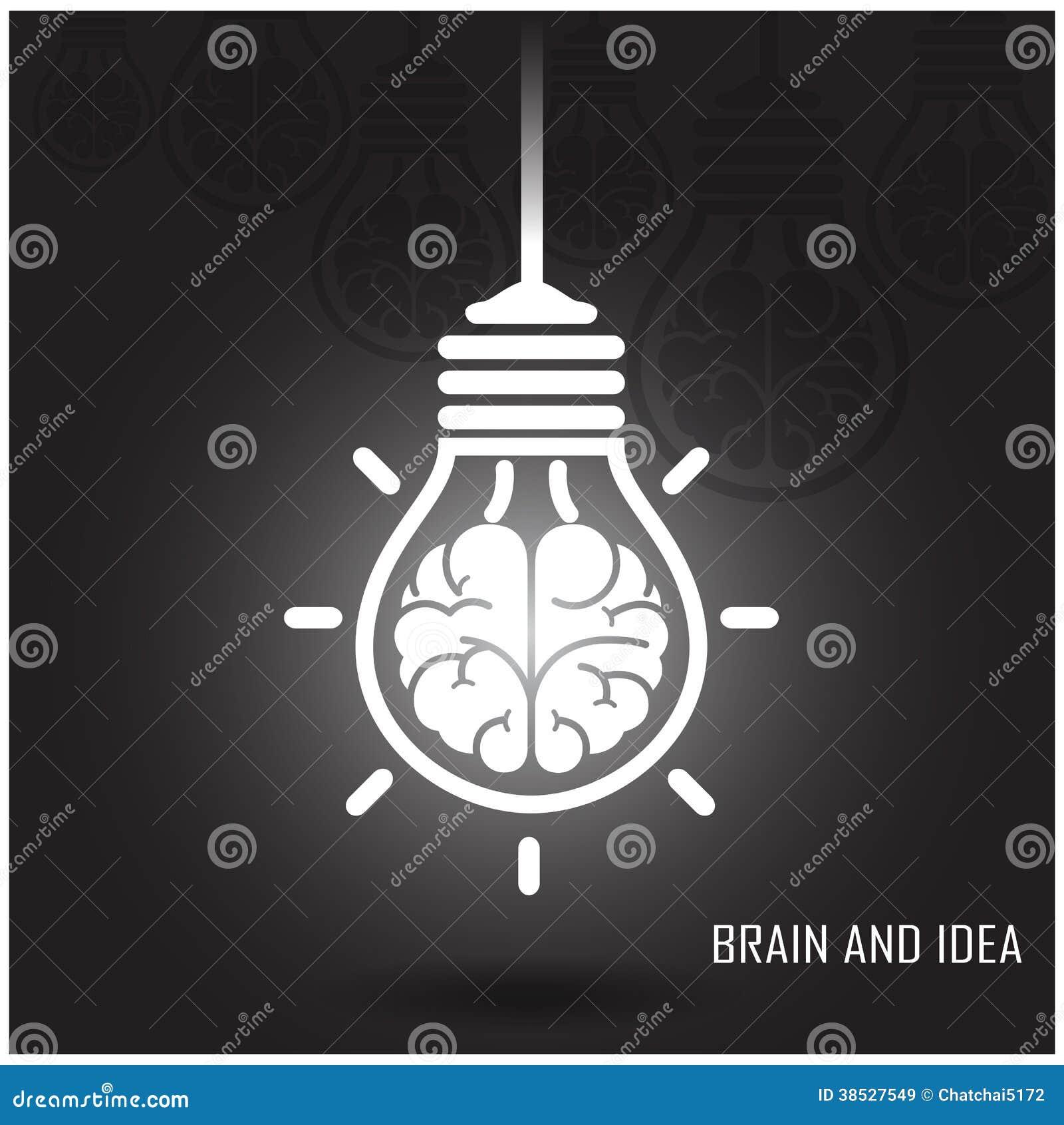 Conceito criativo da ideia do cérebro no fundo escuro