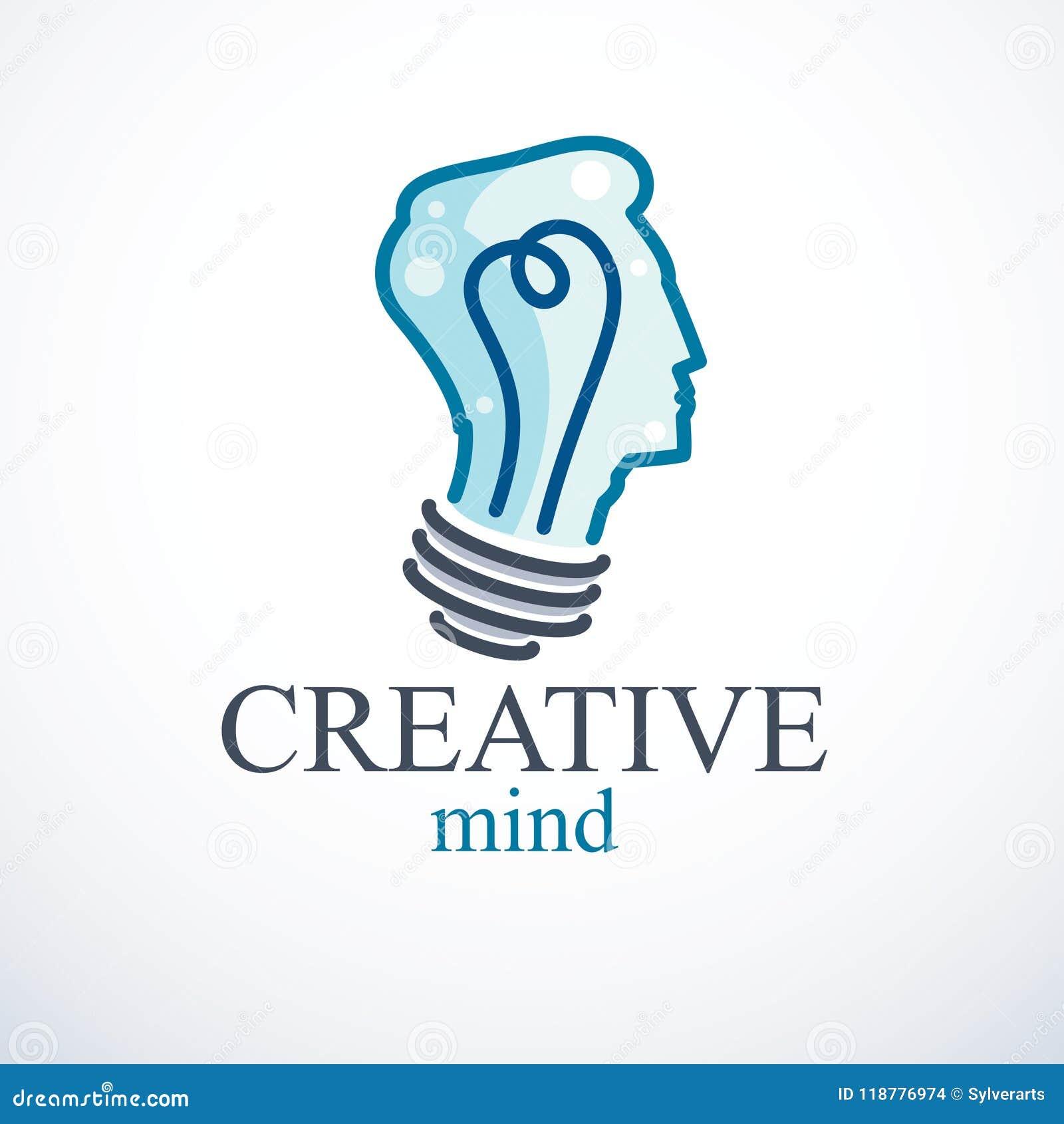 Conceito criativo do cérebro, logotipo inteligente do vetor da pessoa Bu claros