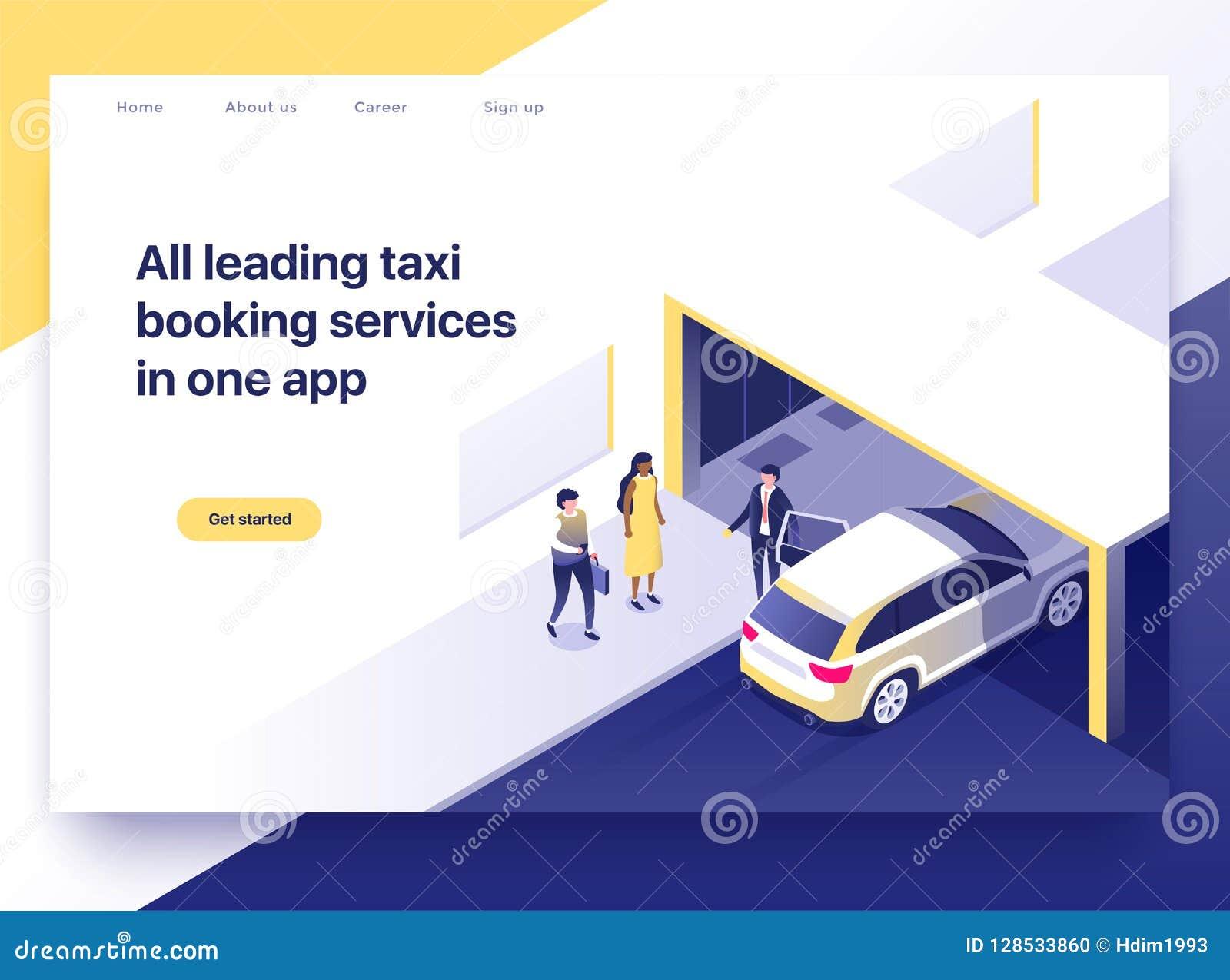 Conceito da aplicação do registro do táxi Executivos que pegam um táxi usando um smartphone Conceito da página da aterrissagem, i