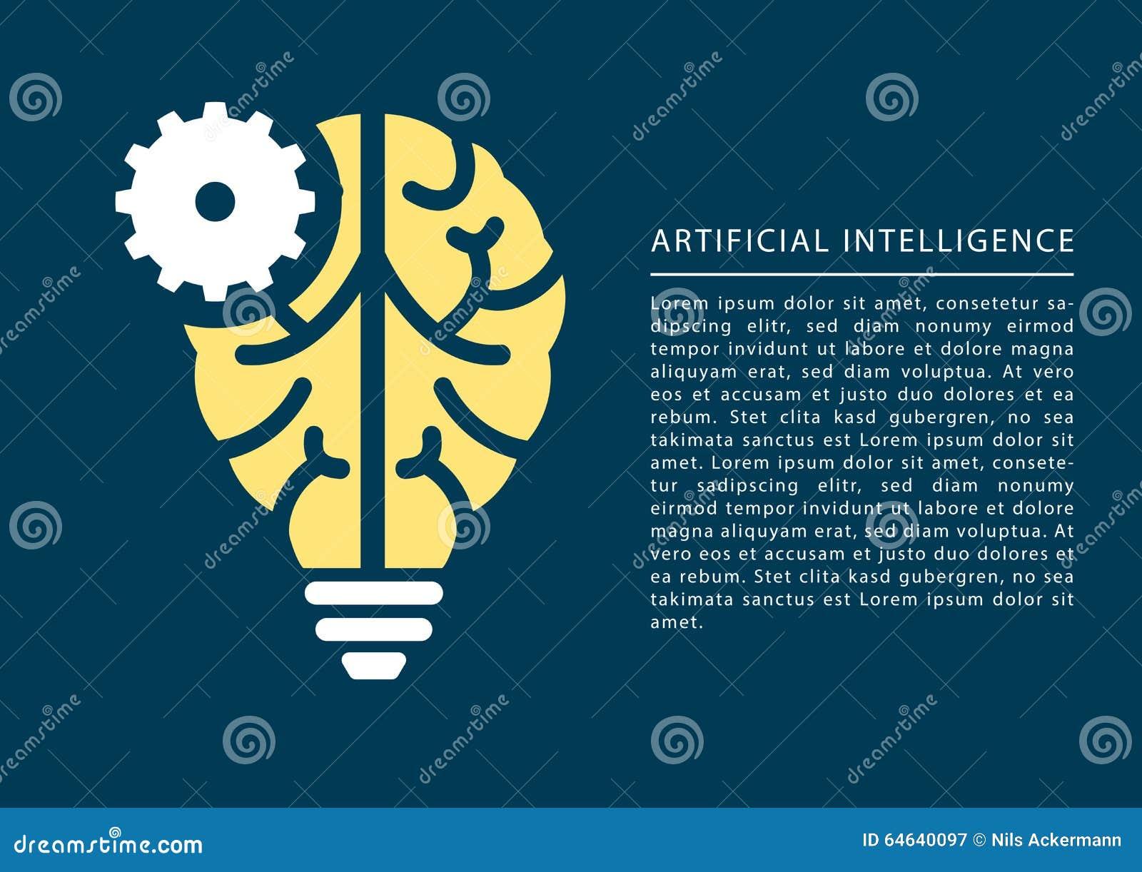 Conceito da aprendizagem de máquina e da inteligência artificial com ícone do cérebro e da ampola