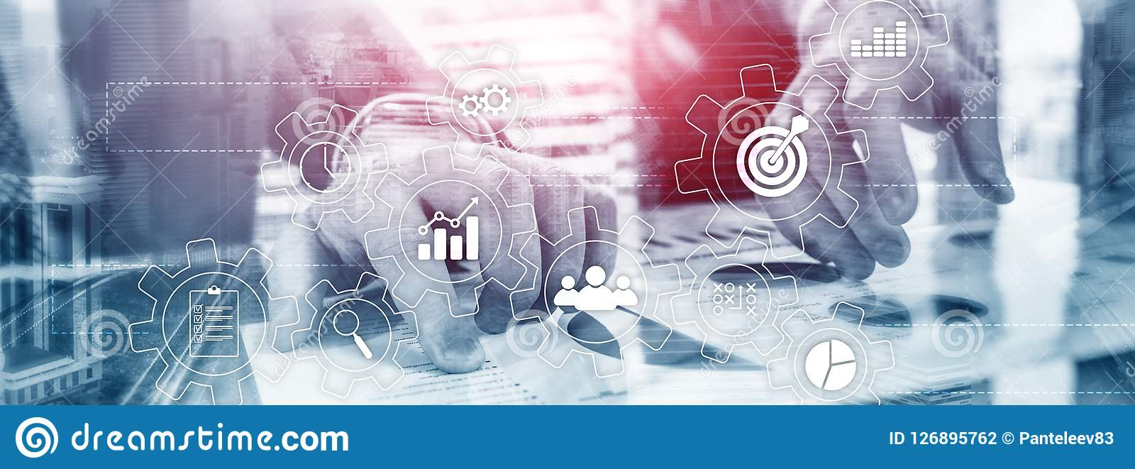 Conceito da automatização de processo de negócios Engrenagens e ícones no fundo abstrato