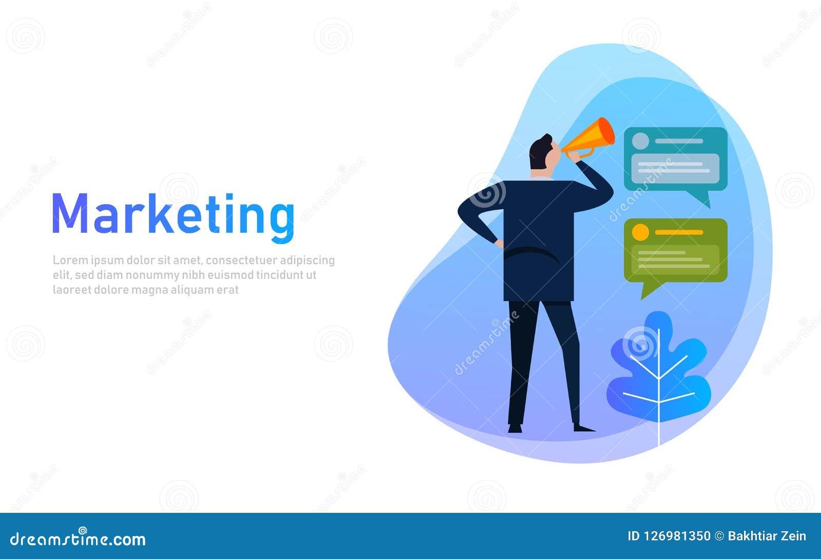 Conceito da bandeira do mercado O homem de negócios comunica a gritaria que guarda ruidosamente um megafone, expressando o concei