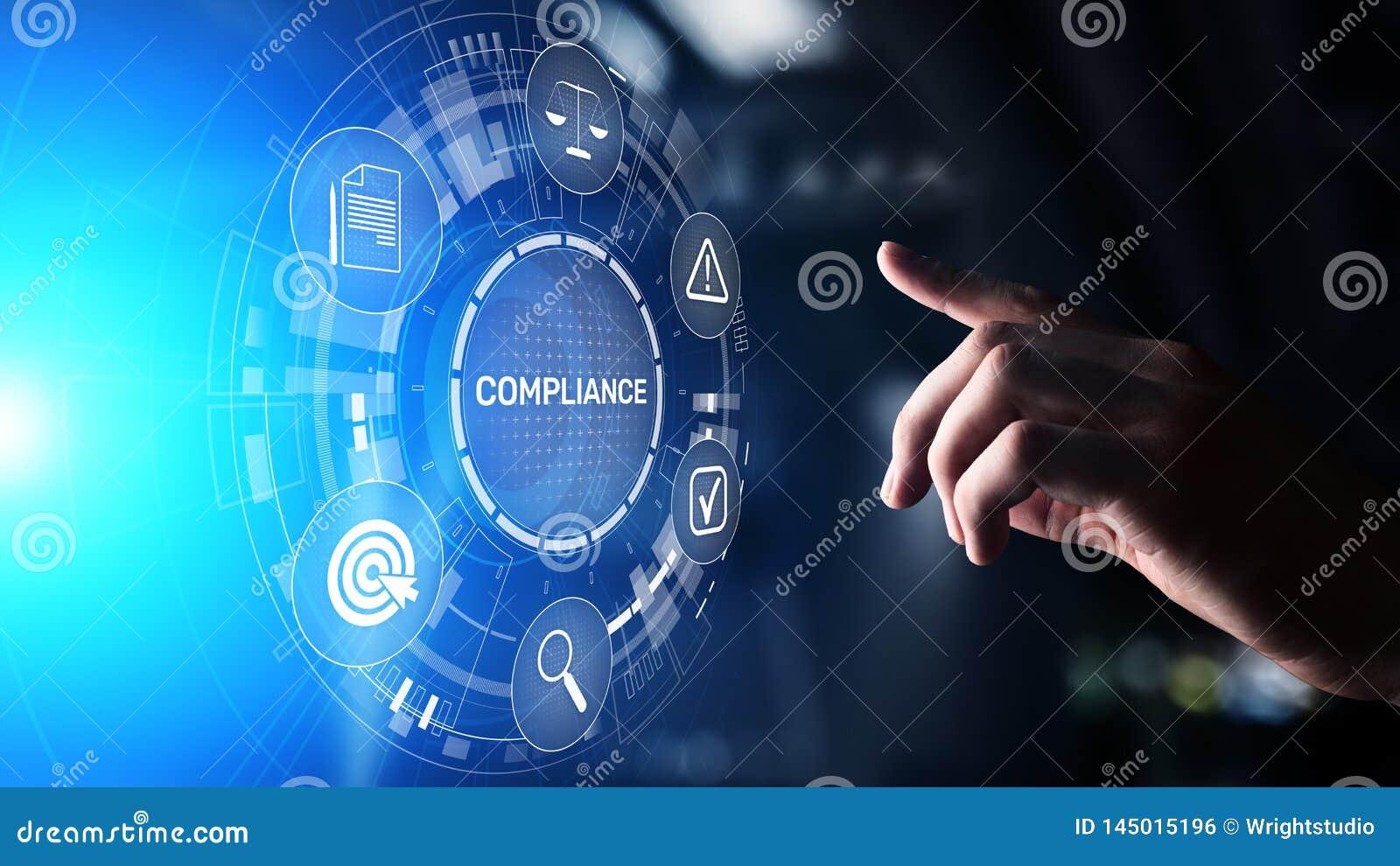 Conceito da conformidade com ?cones e texto Regulamentos, lei, padr?es, exig?ncias, diagrama da auditoria na tela virtual