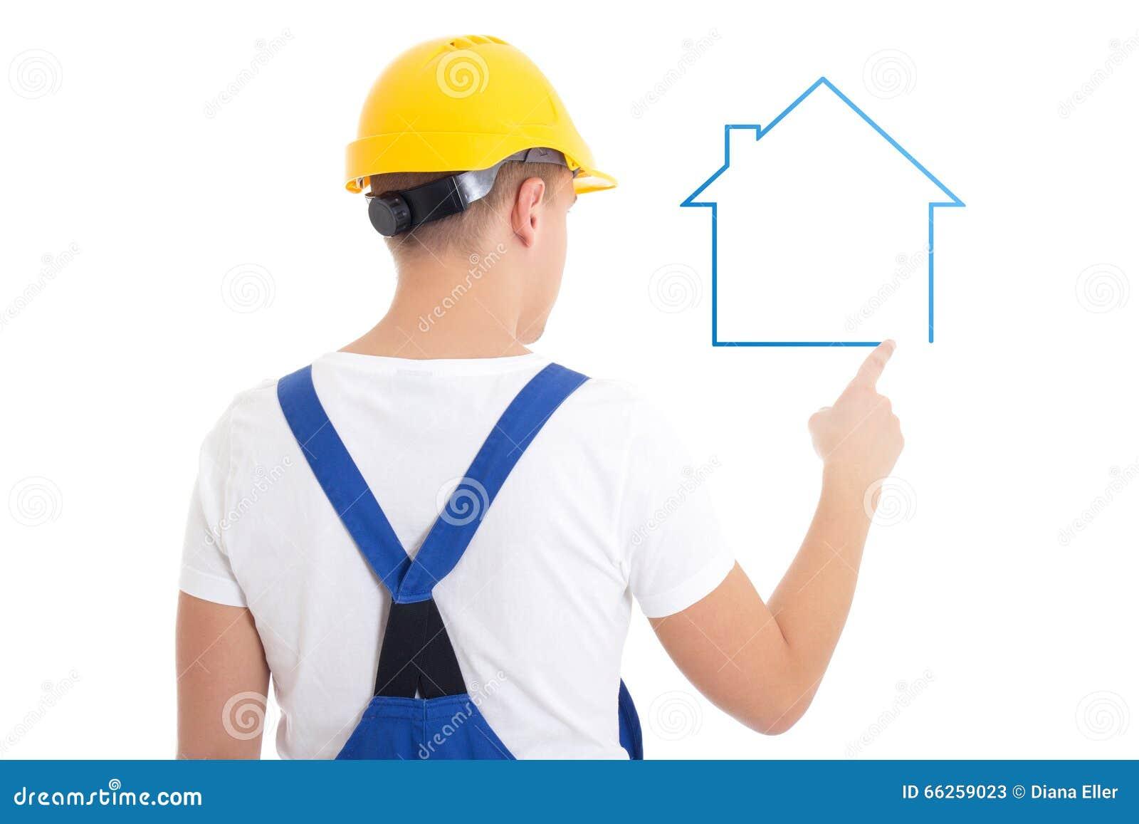 Conceito Da Constru O Homem No Isolador Uniforme Da Casa Do