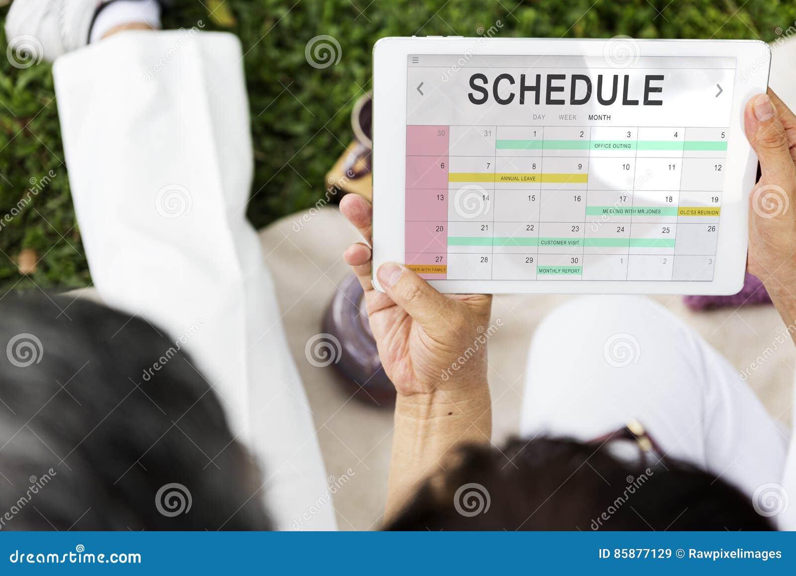 Conceito da data da programação do calendário do planejador