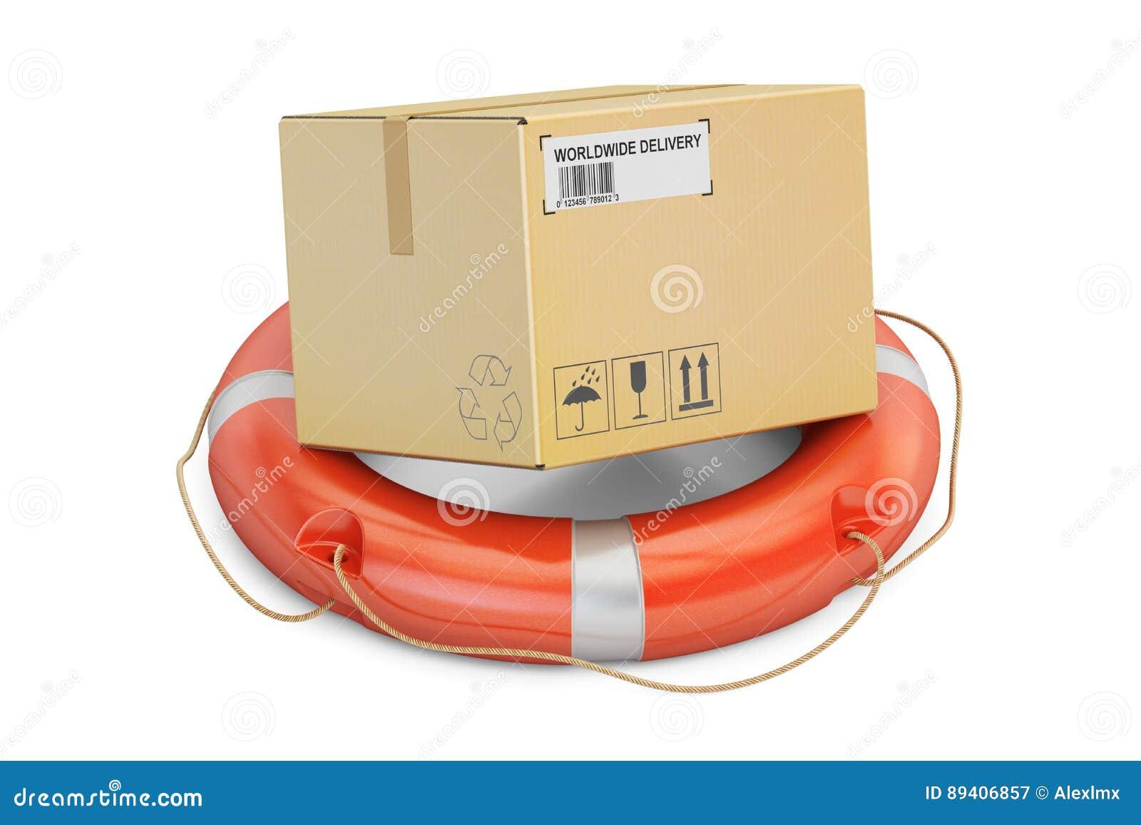Conceito da entrega da segurança Boia salva-vidas com o pacote da caixa de cartão 3d