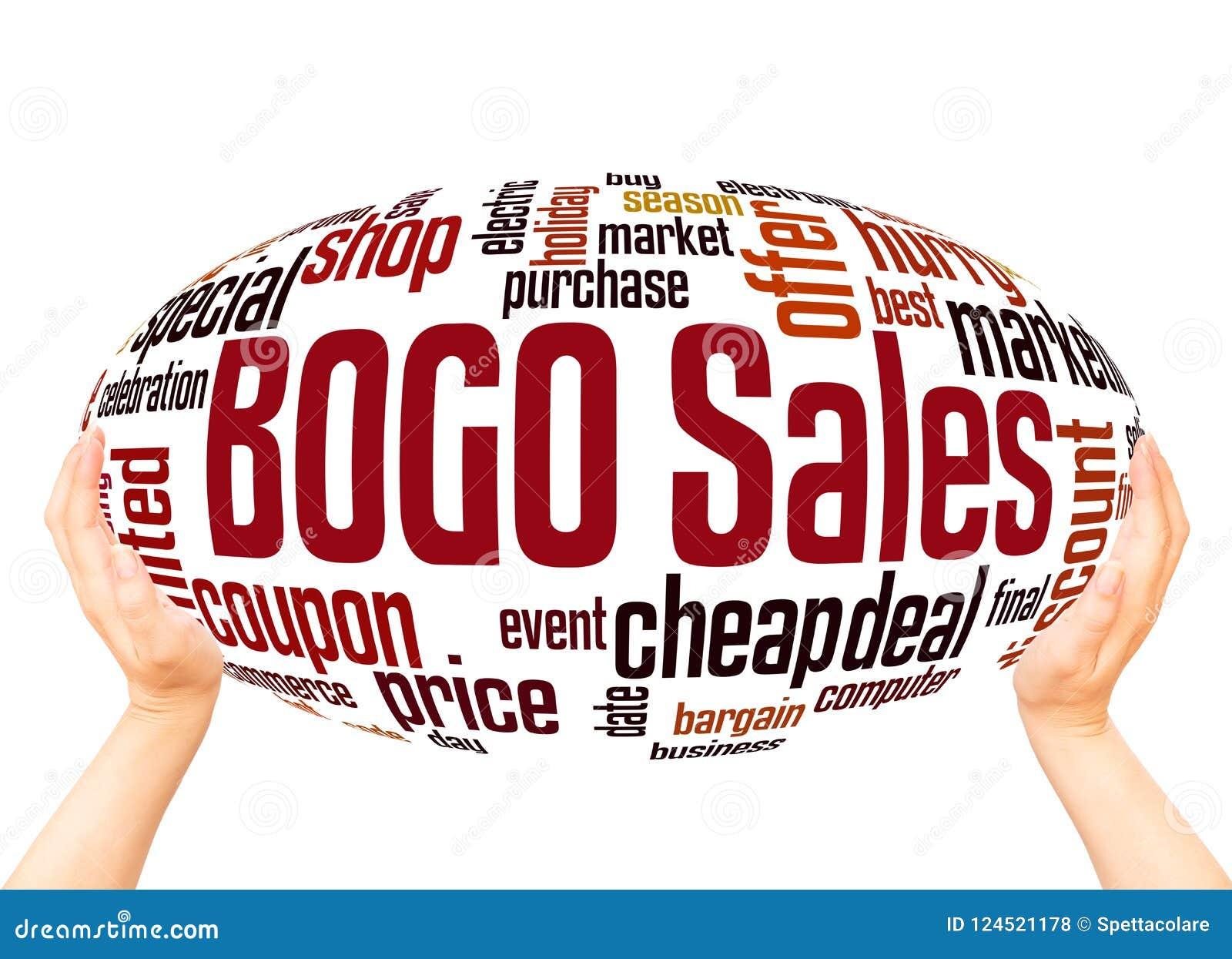 Conceito da esfera da nuvem da palavra das vendas de BOGO