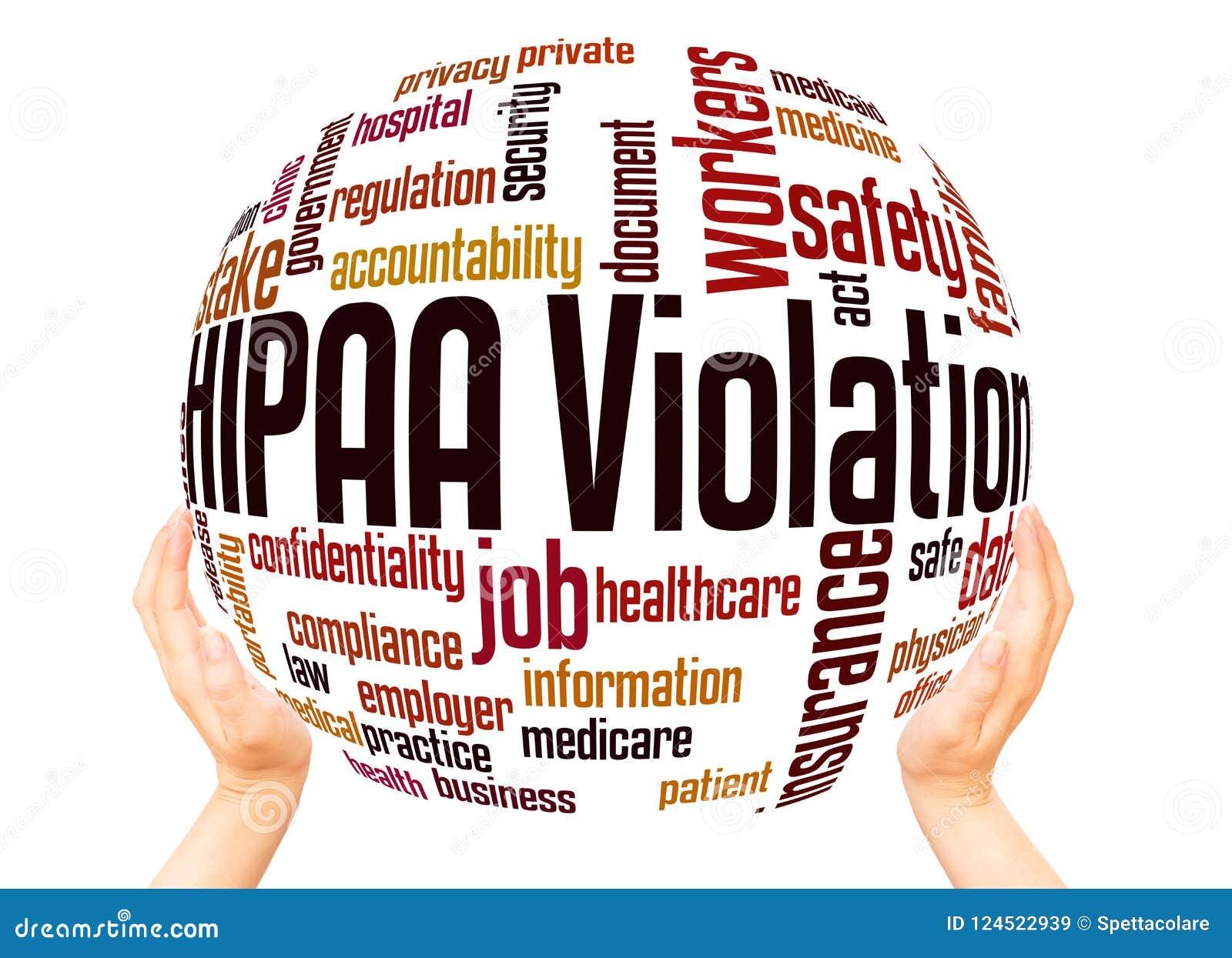 Conceito da esfera da nuvem da palavra da violação de HIPAA
