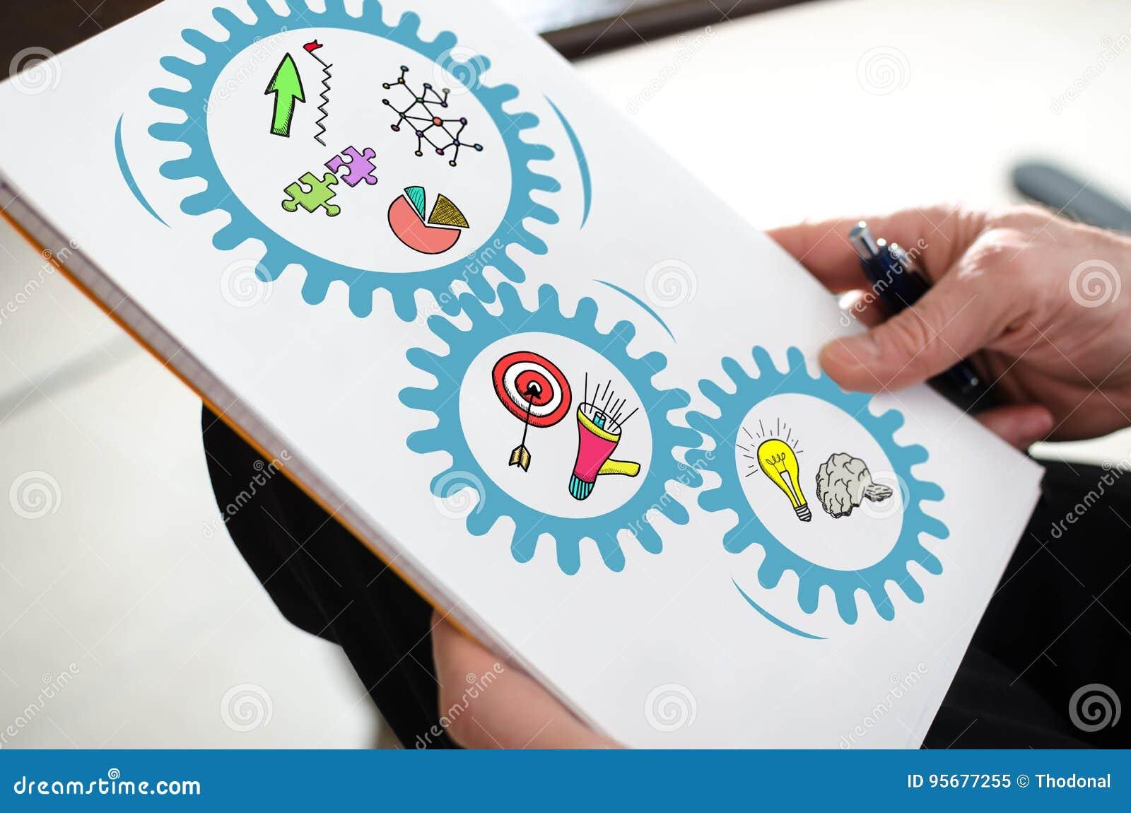 Conceito da estratégia empresarial em um papel