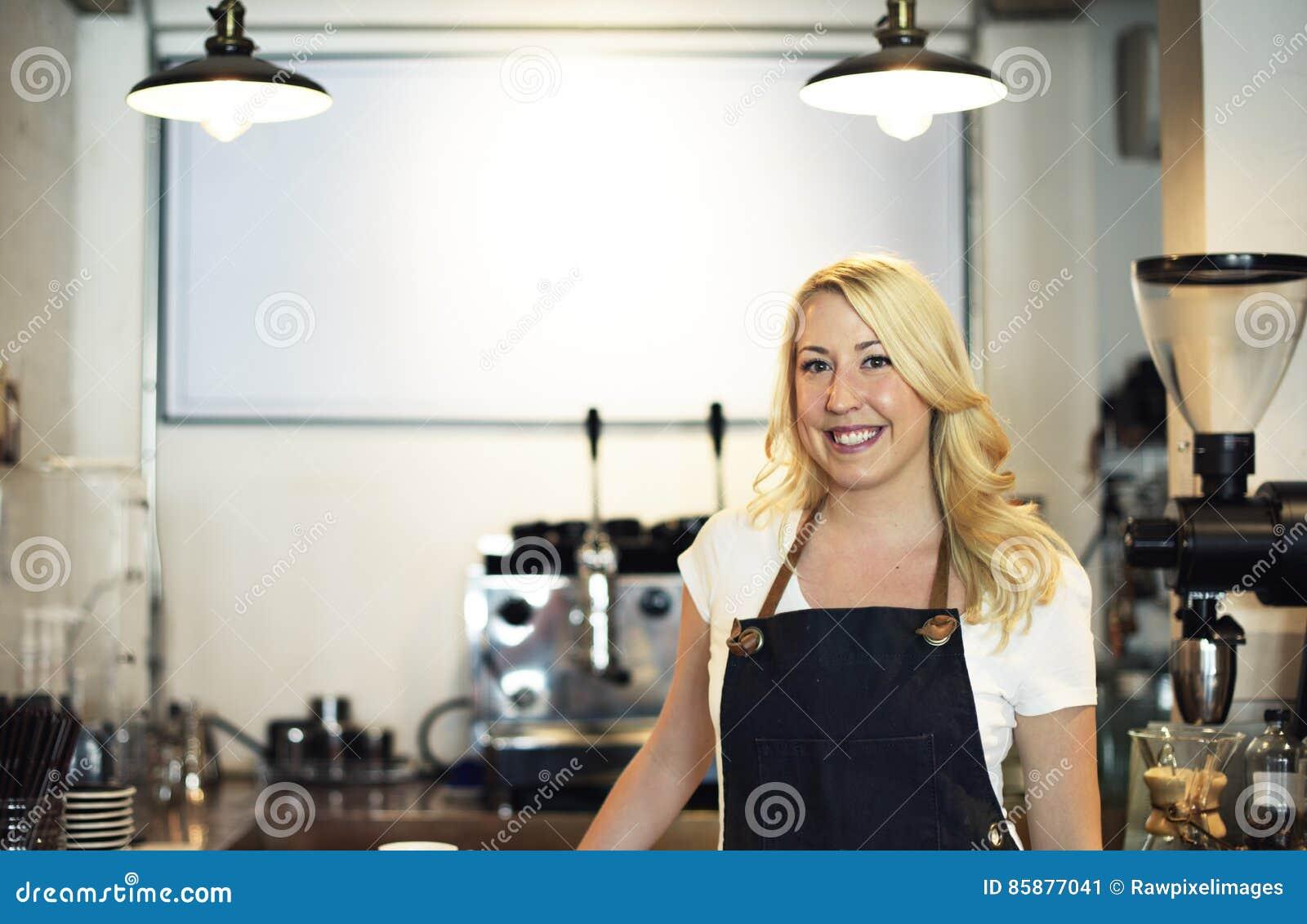 Conceito da felicidade de Barista Coffee Shop Cafe da mulher