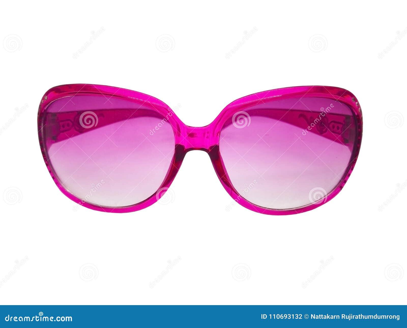 Conceito da forma e dos cuidados médicos Lente cor-de-rosa dos óculos de sol  com quadro plástico cor-de-rosa Isolado no fundo, no espaço da cópia e no  ... 27663bf744