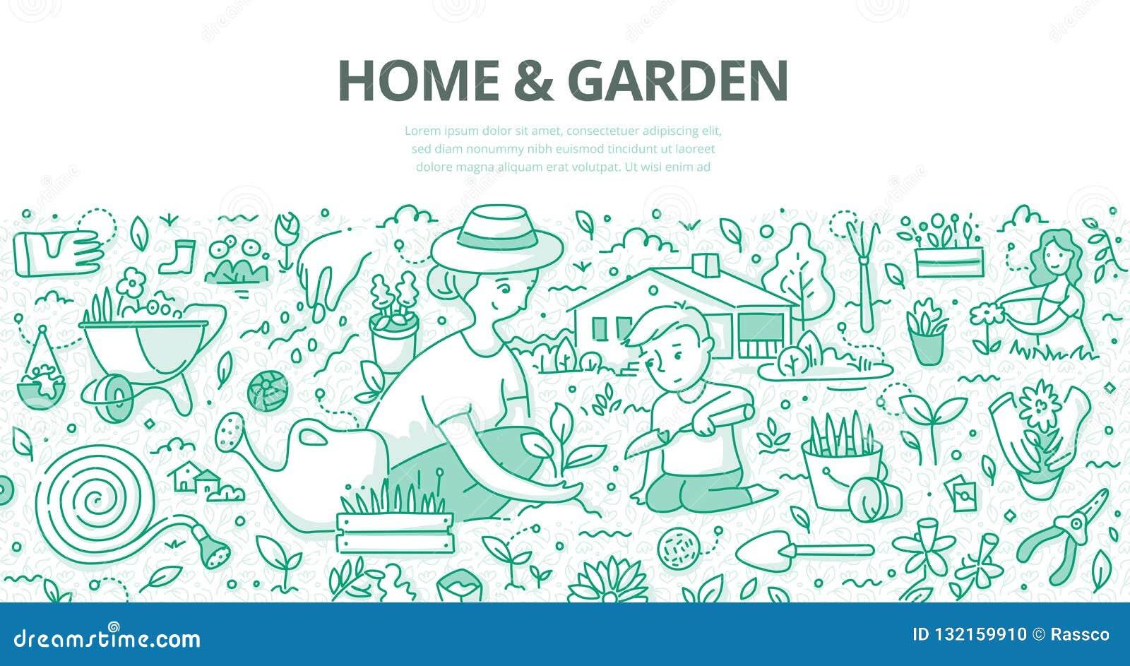 Conceito da garatuja da casa & do jardim