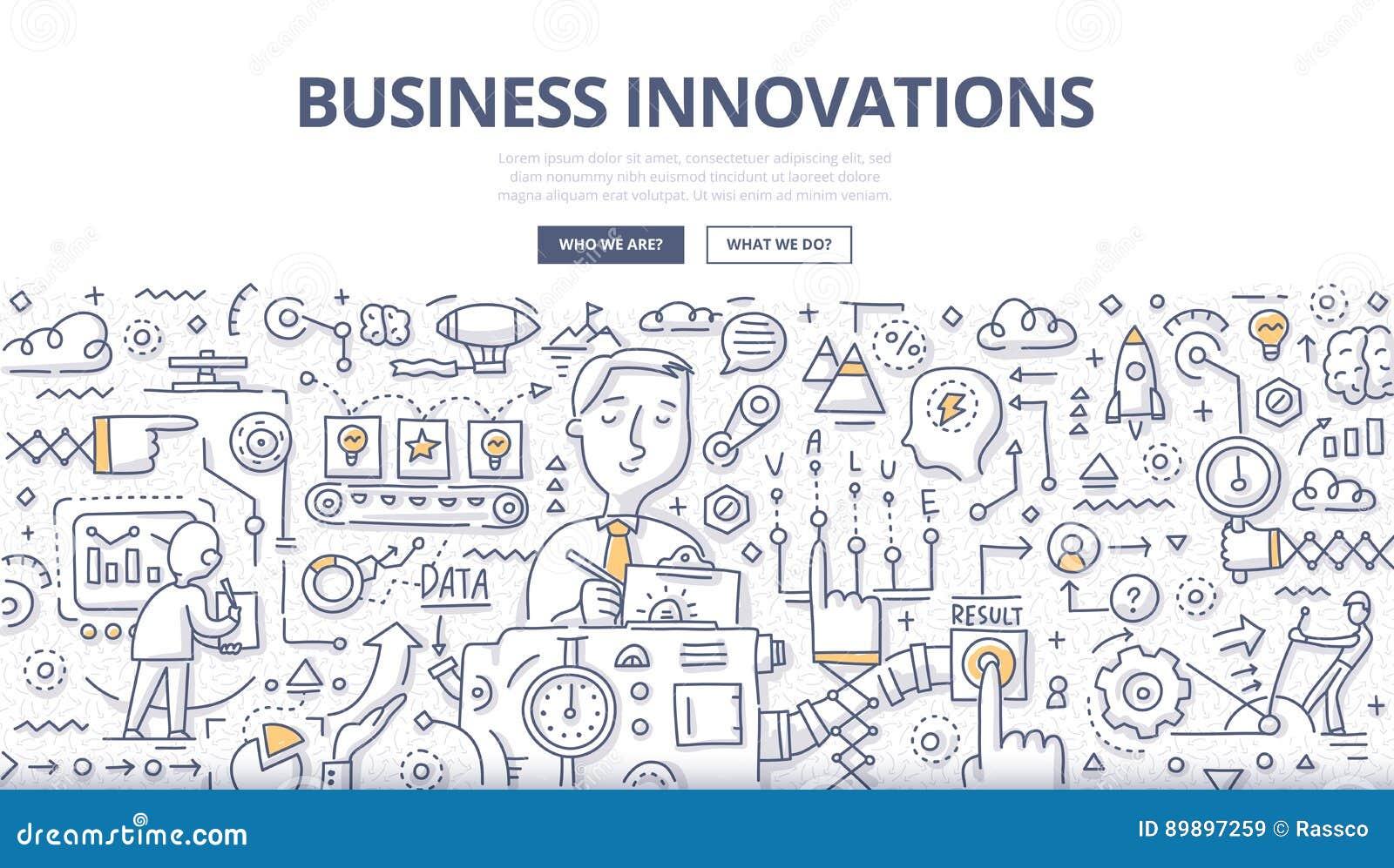 Conceito da garatuja das inovações do negócio