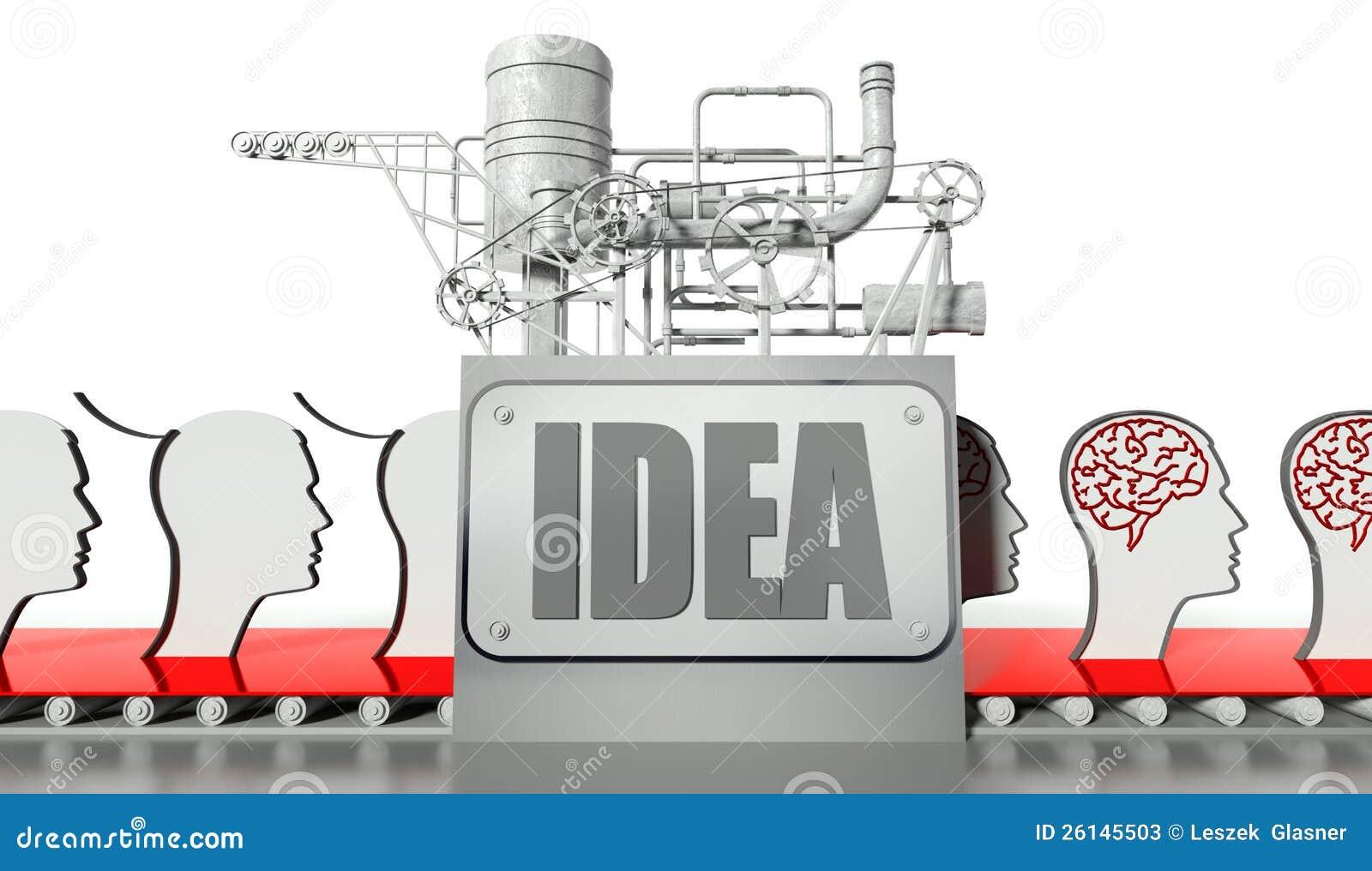 Conceito da idéia, faces com cérebros e máquina