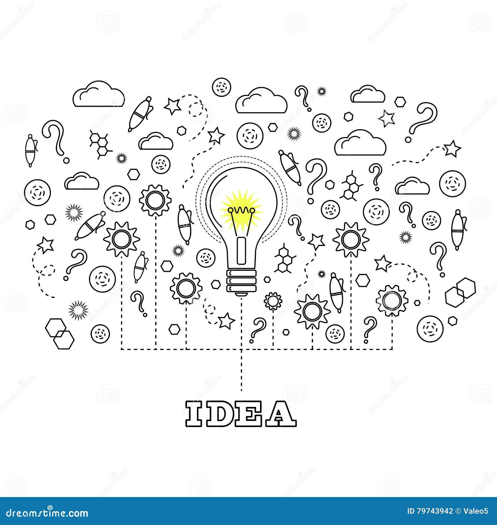 Conceito da ideia com ampola