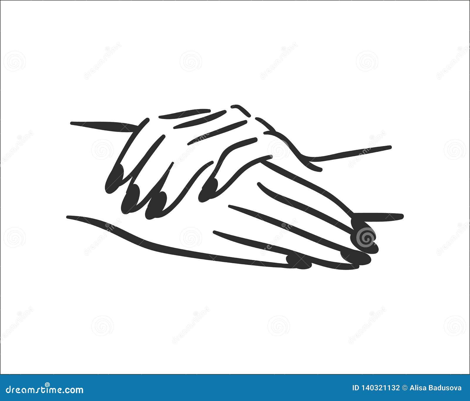 Conceito da ilustração do vetor das mãos com ícone do tratamento de mãos Preto no fundo branco