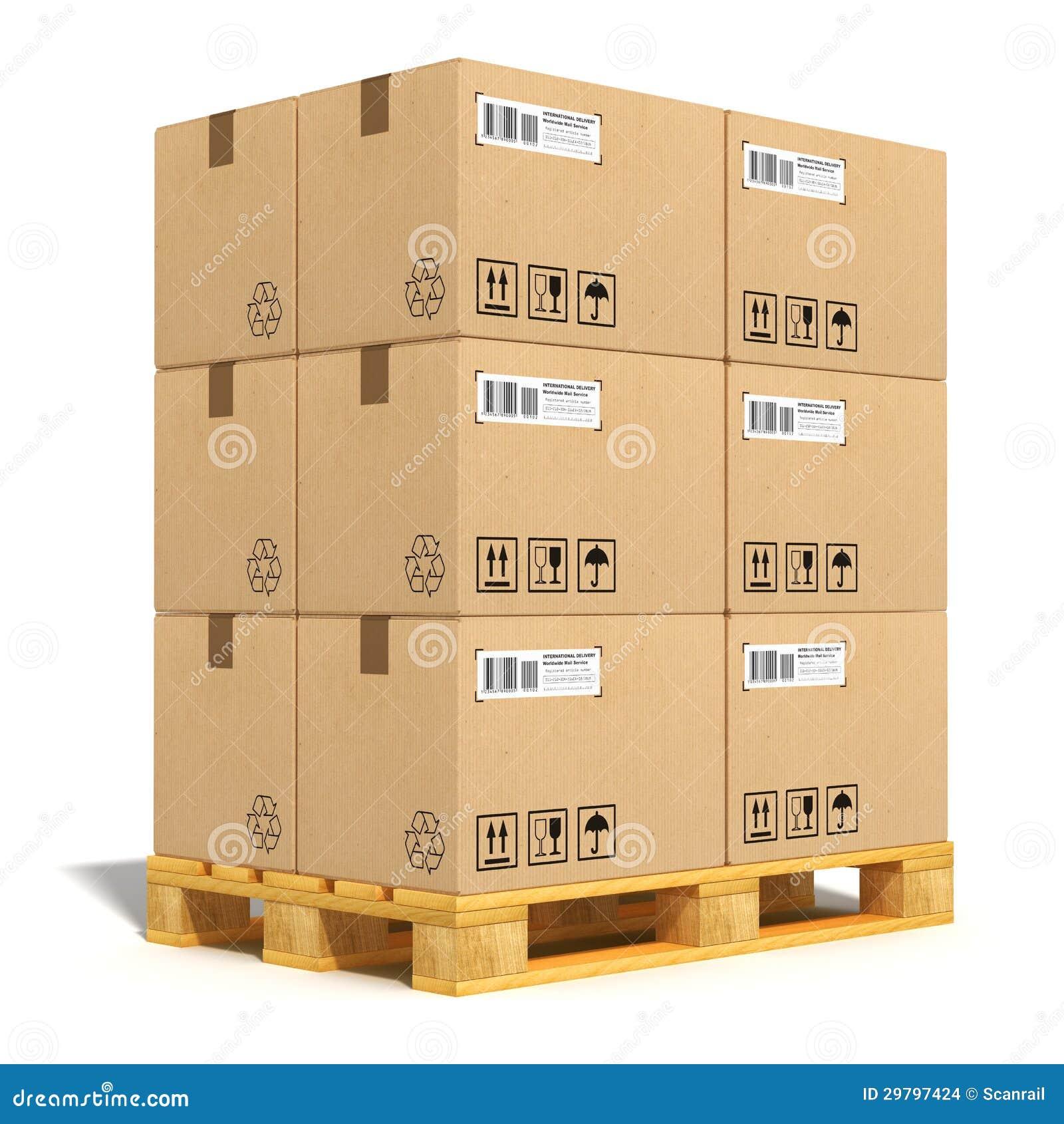 Caixas De Cartão Na Pálete Do Transporte Imagens de Stock Imagem  #B78114 1300x1390