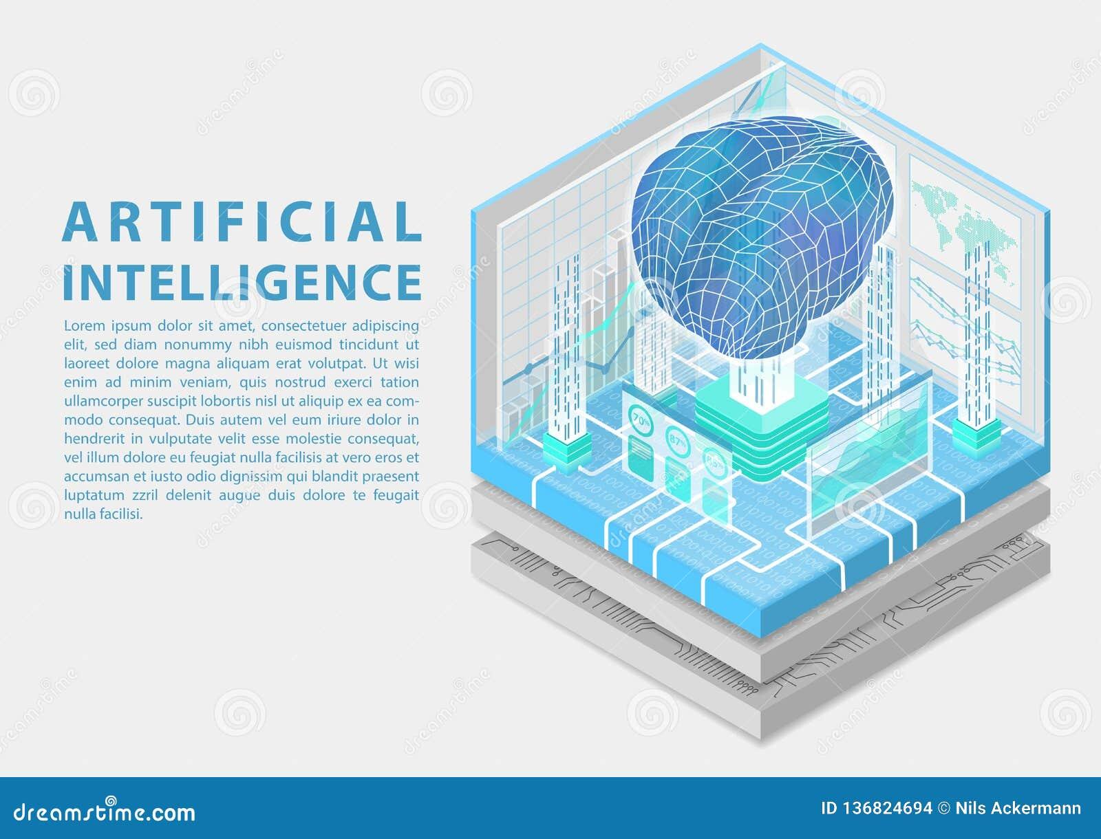Conceito da inteligência artificial com o cérebro digital como a ilustração isométrica do vetor