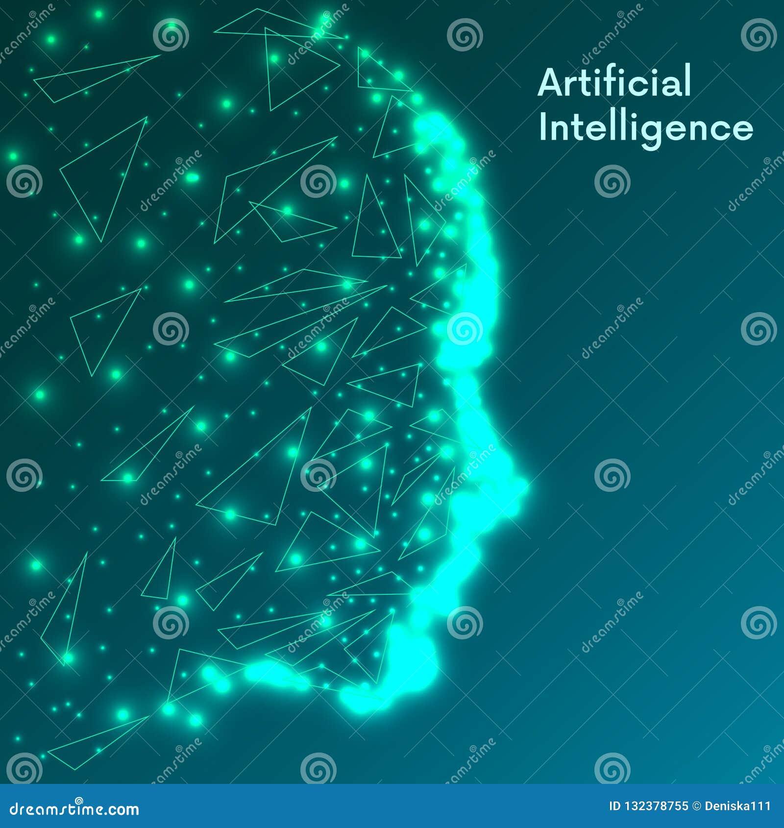 Conceito da inteligência artificial Visualização grande humano futurista dos dados Projeto da mente do Cyber Aprendizagem de máqu