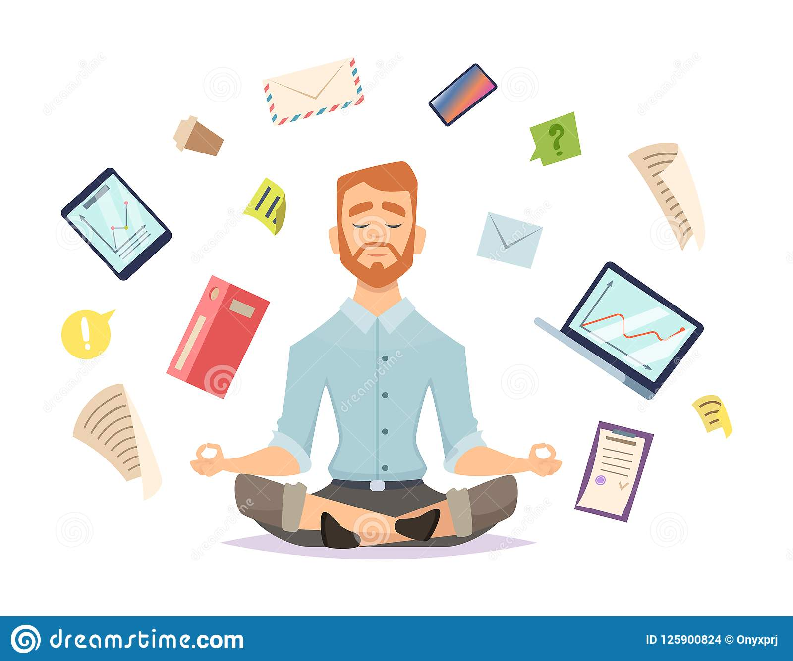 Conceito da ioga do negócio O zen do escritório relaxa a concentração na ilustração do vetor da prática da ioga da tabela do espa